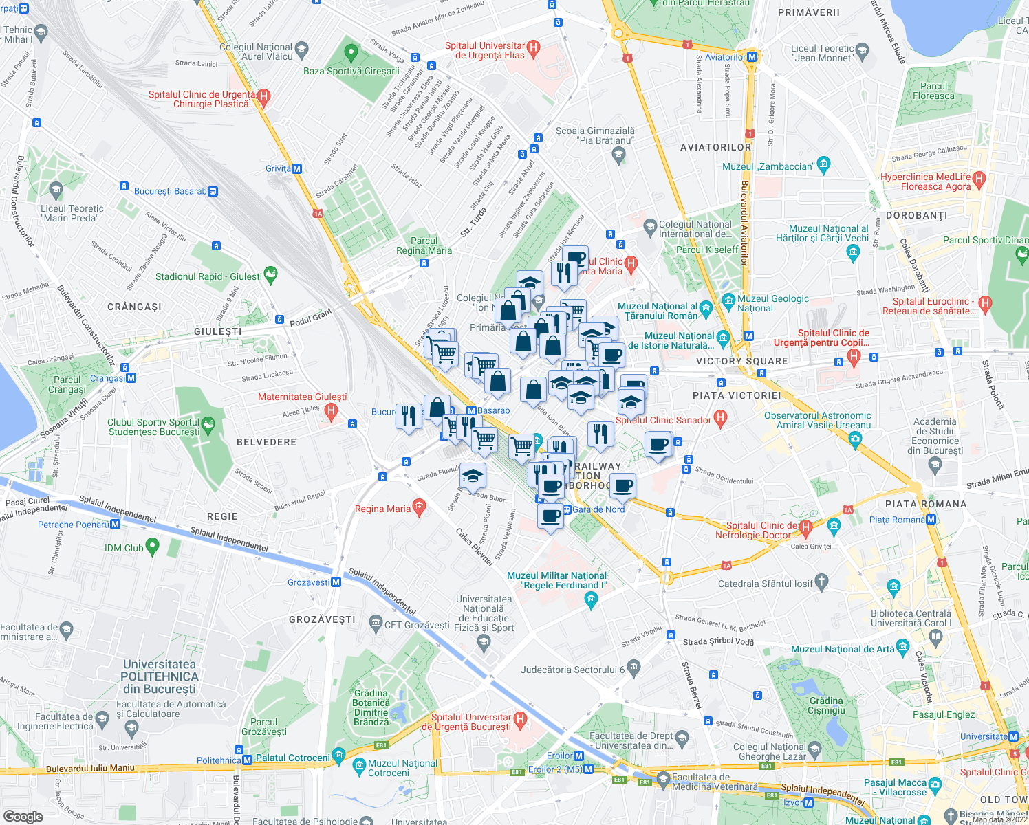 map of restaurants, bars, coffee shops, grocery stores, and more near Șoseaua Nicolae Titulescu in Bucharest