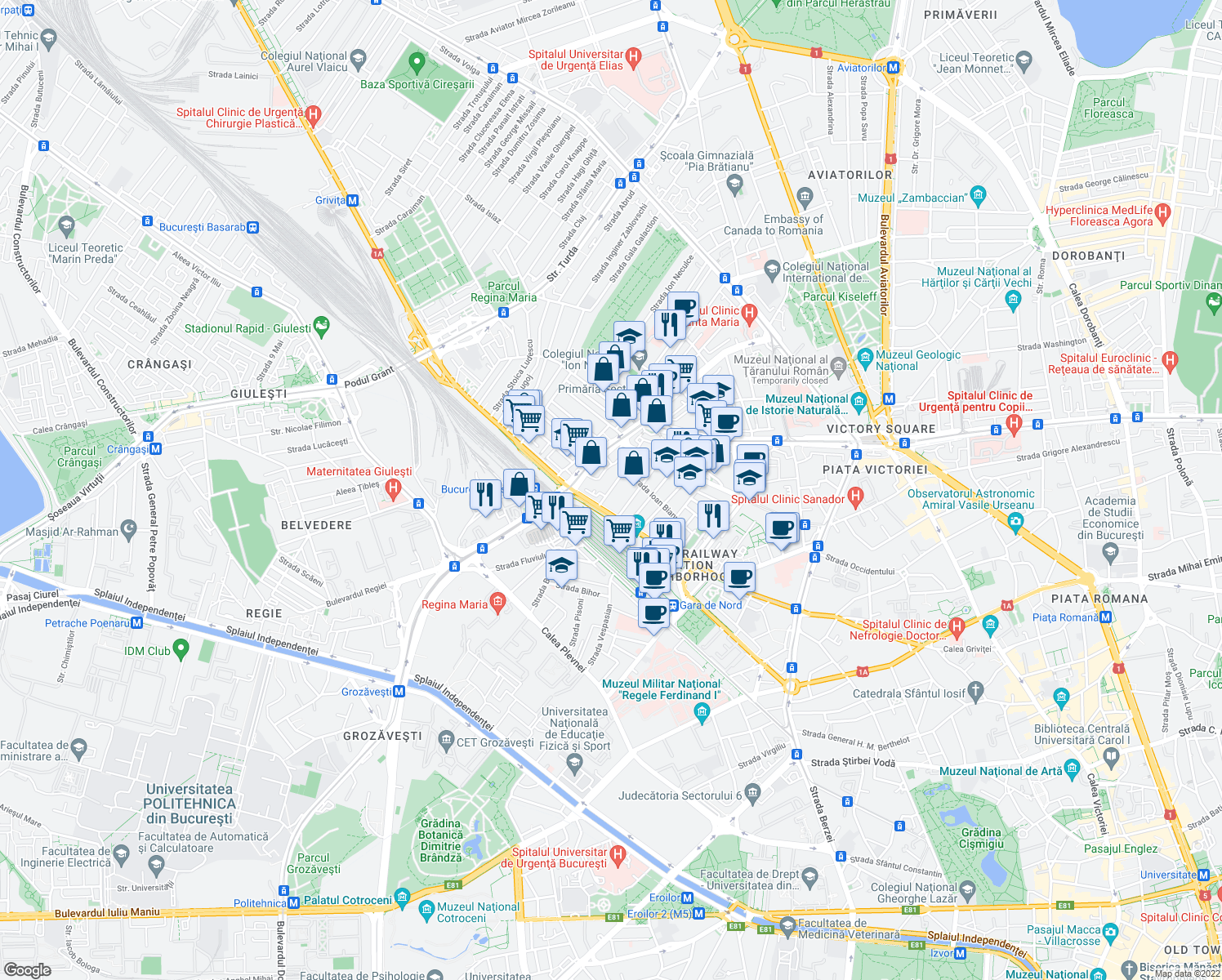 map of restaurants, bars, coffee shops, grocery stores, and more near 163 Șoseaua Nicolae Titulescu in București
