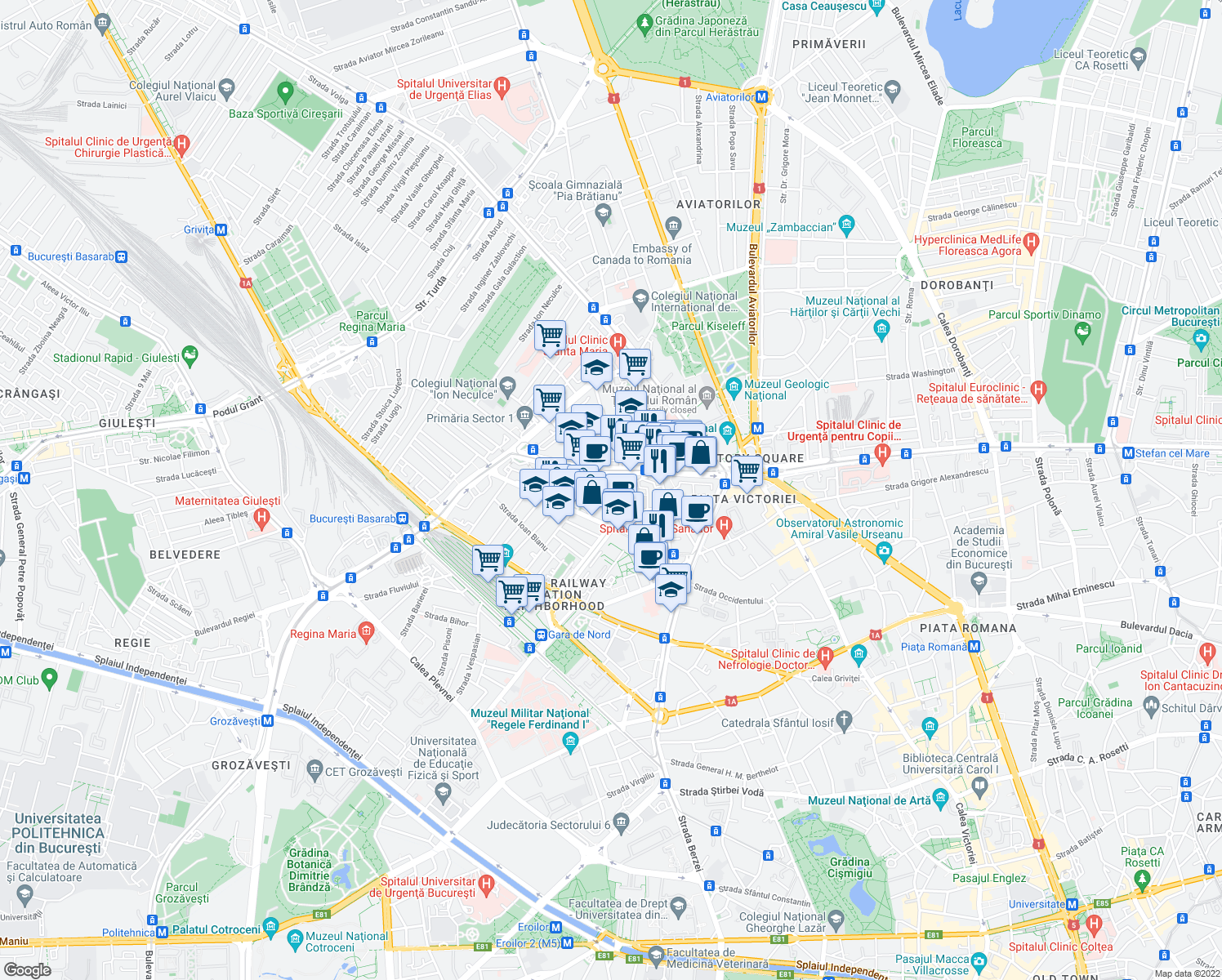 map of restaurants, bars, coffee shops, grocery stores, and more near 23 Strada Veronica Micle in București