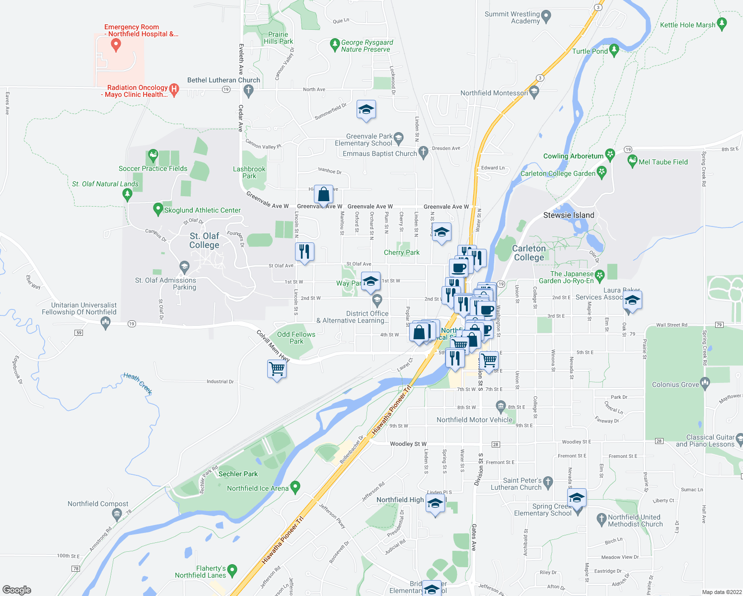 map of restaurants, bars, coffee shops, grocery stores, and more near 612 2nd Street West in Northfield