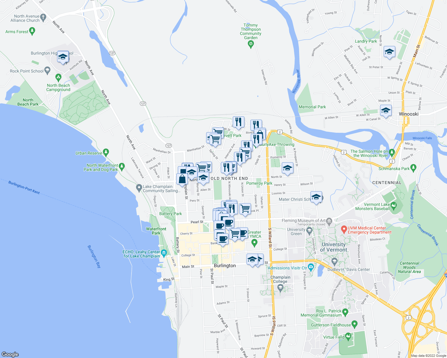 map of restaurants, bars, coffee shops, grocery stores, and more near 238 North St in Burlington