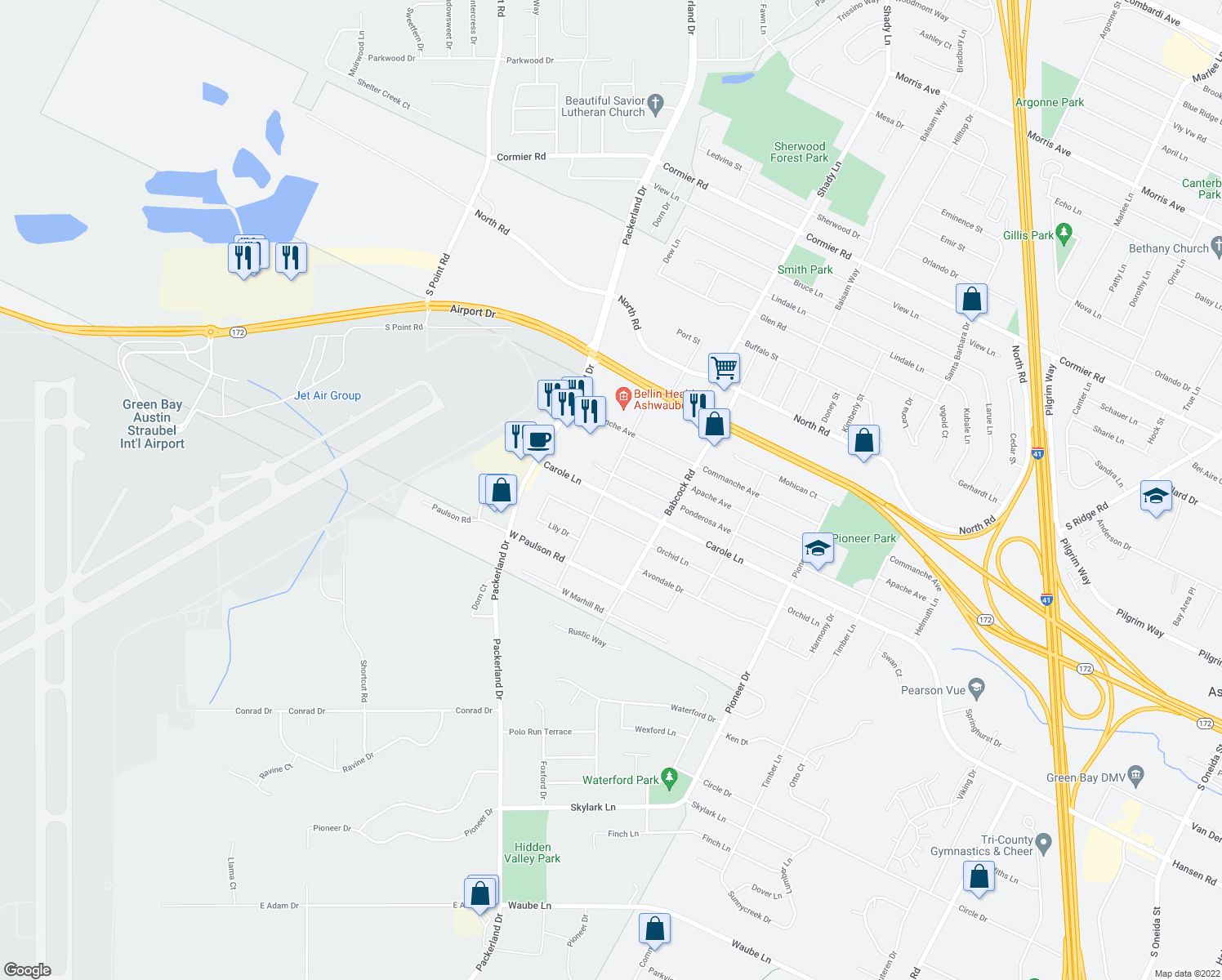 map of restaurants, bars, coffee shops, grocery stores, and more near 1606 Carole Lane in Green Bay