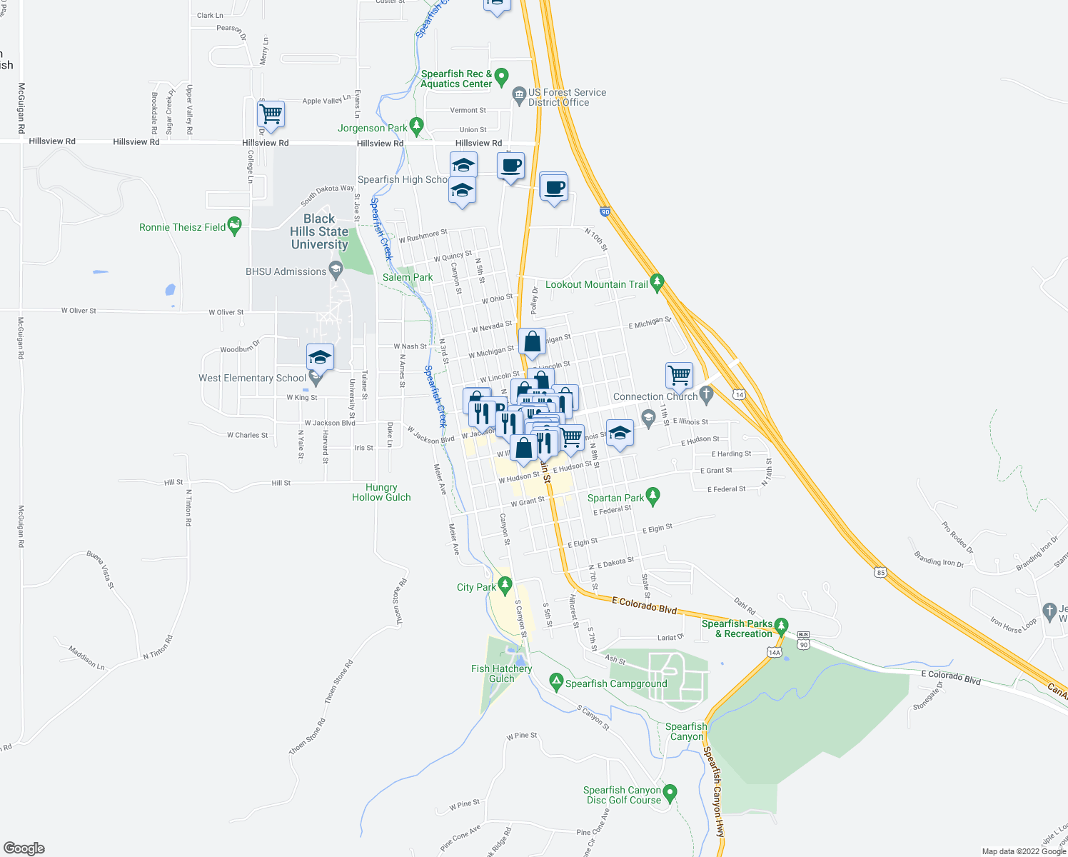 map of restaurants, bars, coffee shops, grocery stores, and more near in Spearfish
