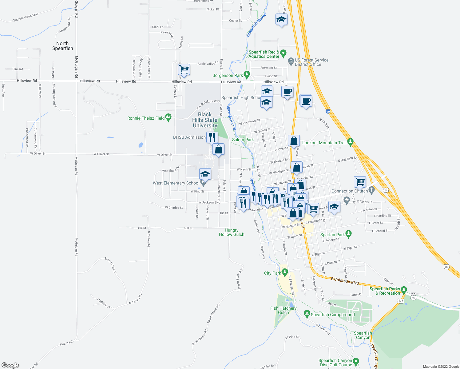 map of restaurants, bars, coffee shops, grocery stores, and more near 936 Saint Joe Street in Spearfish