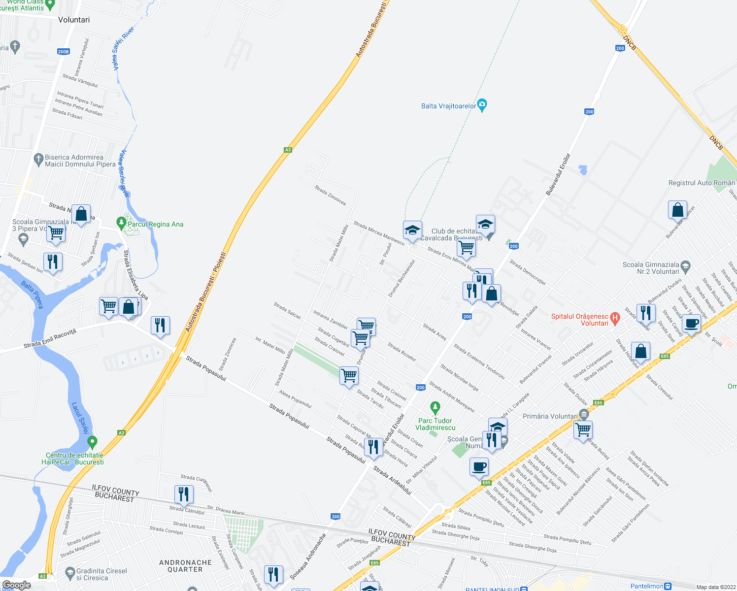 map of restaurants, bars, coffee shops, grocery stores, and more near 38 Intrarea Teslui in Voluntari