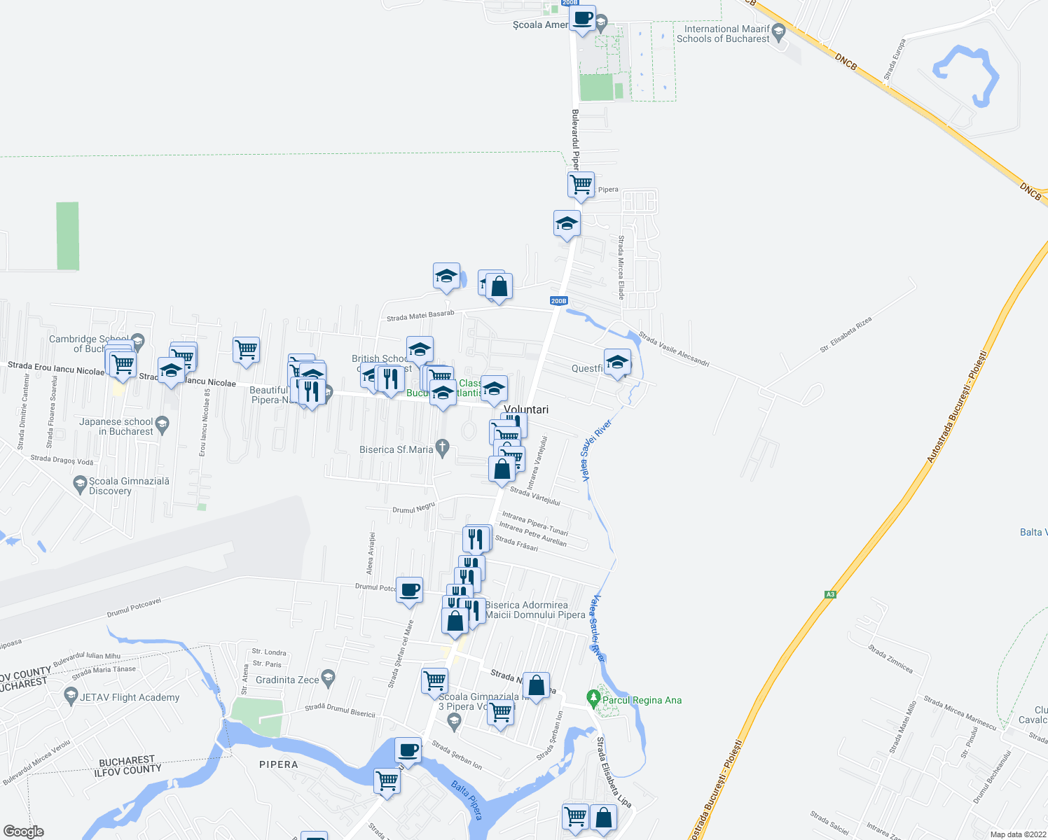 map of restaurants, bars, coffee shops, grocery stores, and more near DJ200B in Voluntari