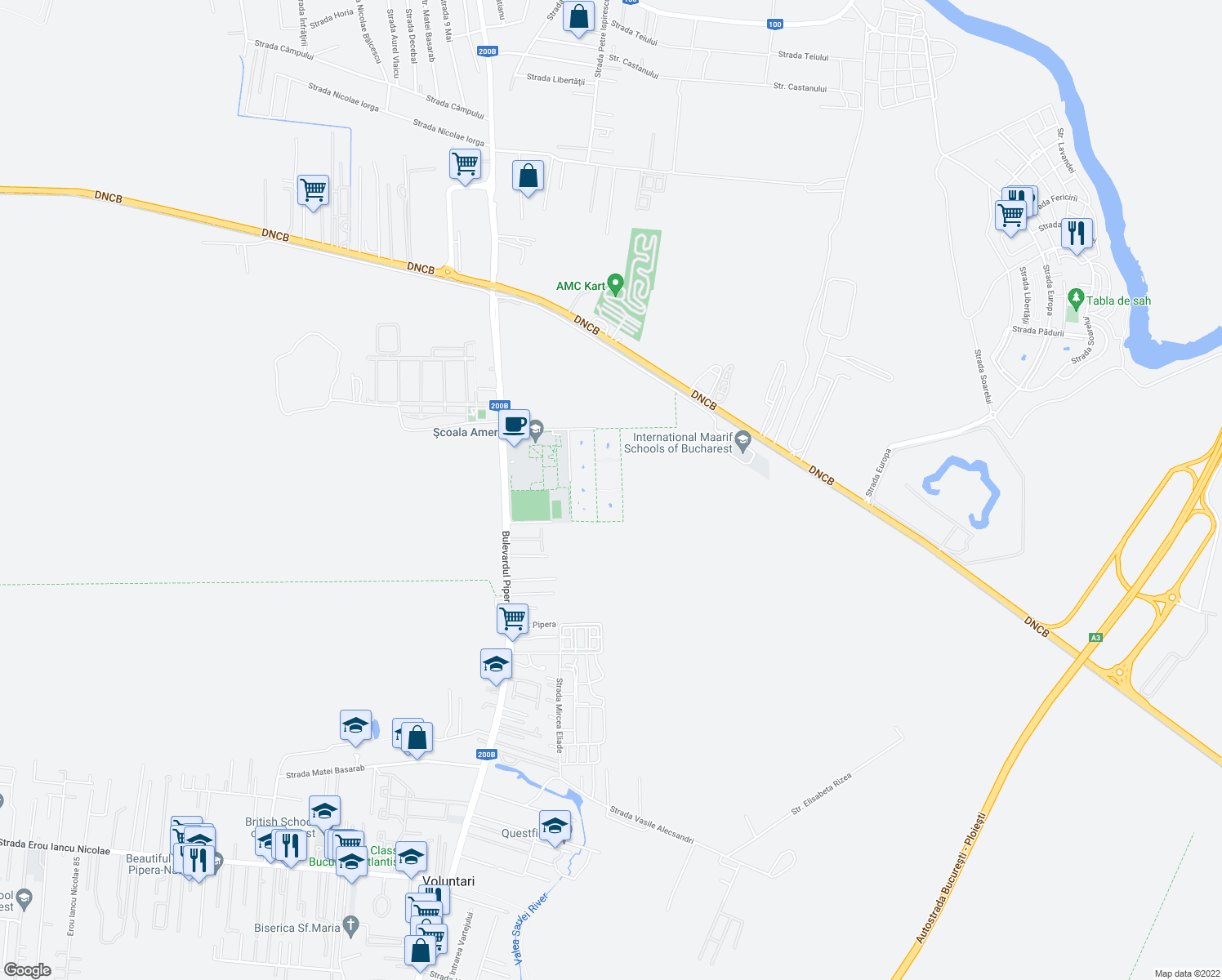 map of restaurants, bars, coffee shops, grocery stores, and more near Unnamed Road in Voluntari