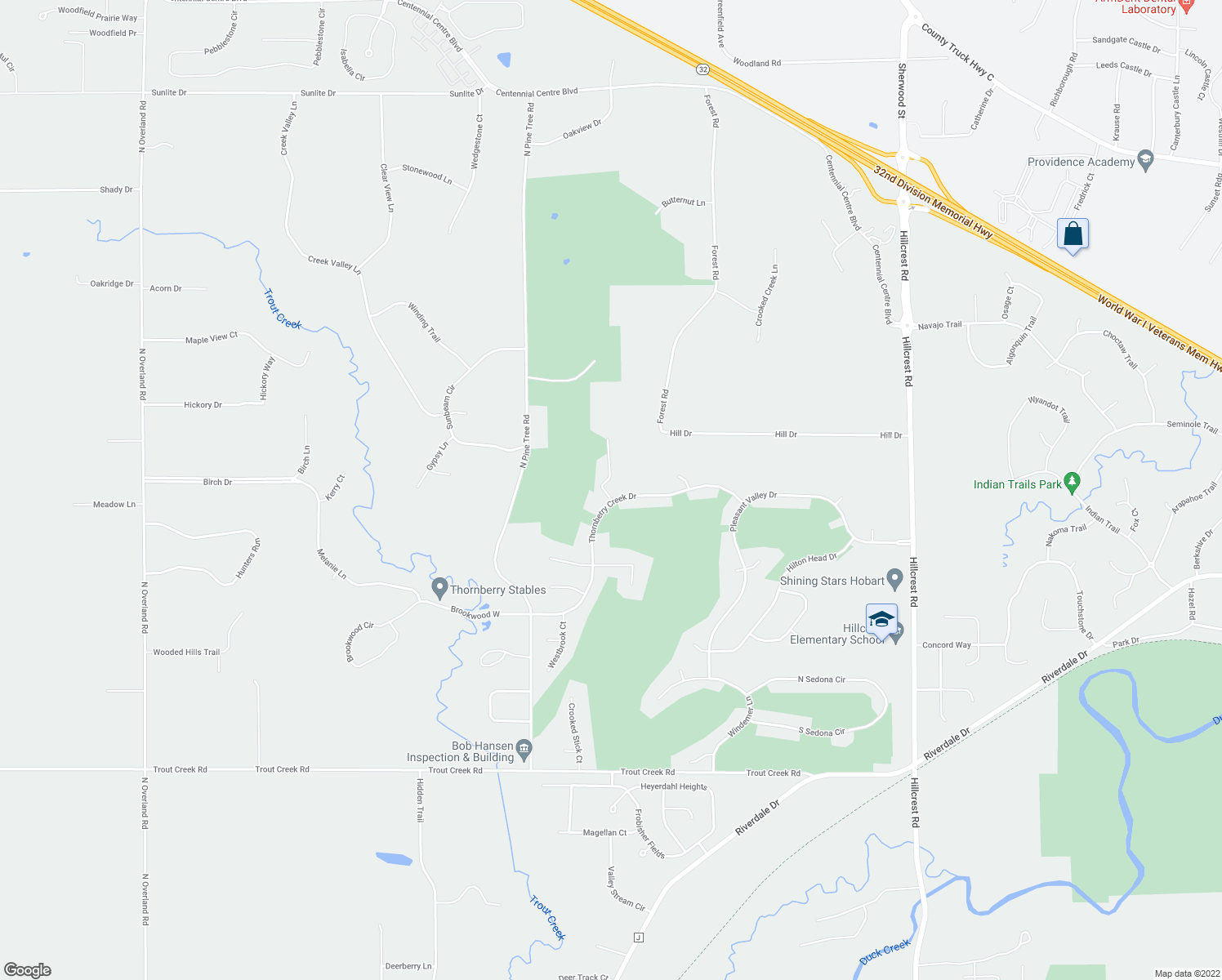 map of restaurants, bars, coffee shops, grocery stores, and more near 996 Thornberry Creek Drive in Oneida