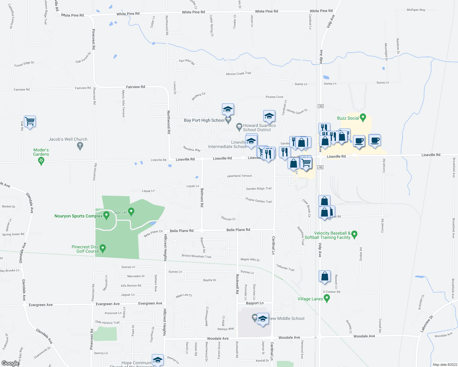 map of restaurants, bars, coffee shops, grocery stores, and more near 1736 Orange Blossom Drive in Green Bay