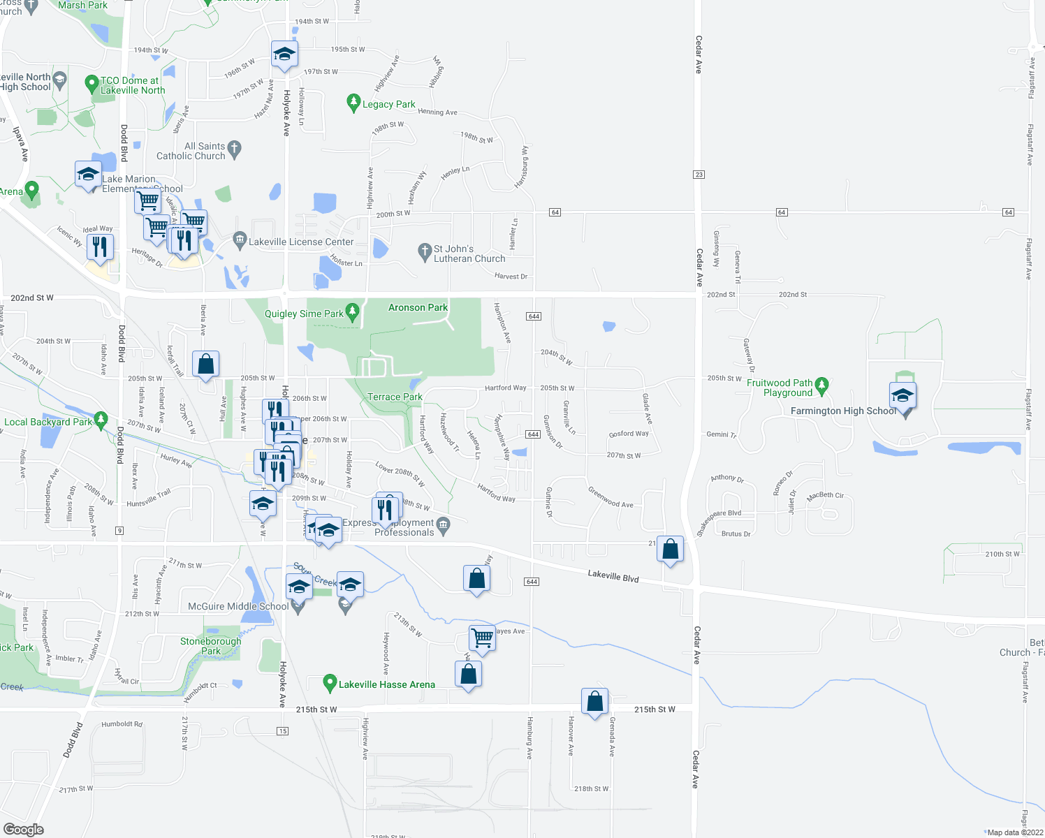 map of restaurants, bars, coffee shops, grocery stores, and more near 20560 Hampshire Way in Lakeville