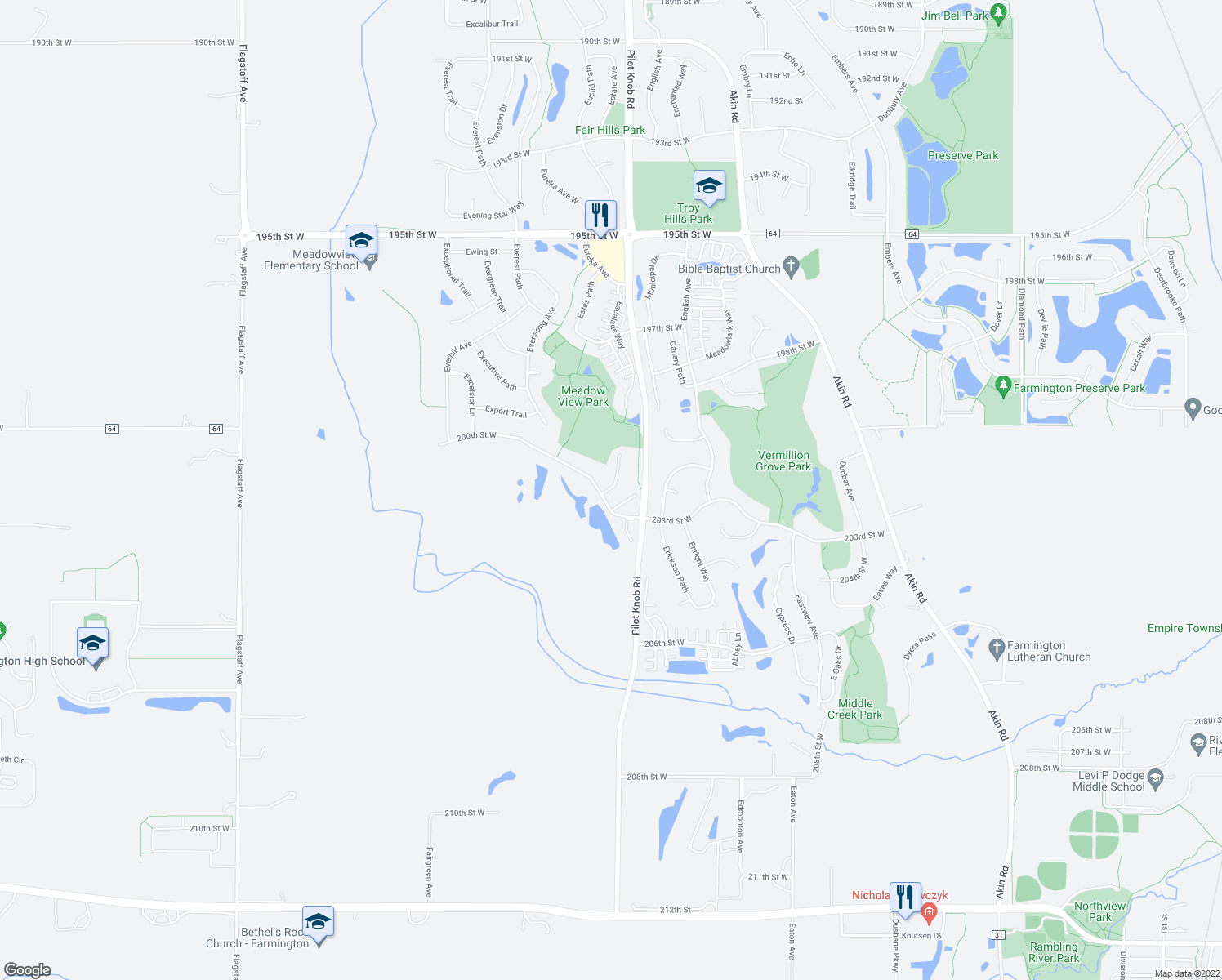 map of restaurants, bars, coffee shops, grocery stores, and more near 5685 200th Street West in Farmington