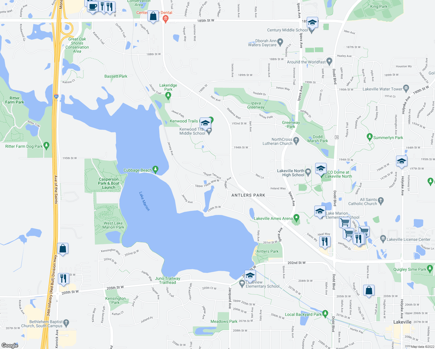 map of restaurants, bars, coffee shops, grocery stores, and more near 19630 Jasper Terrace in Lakeville