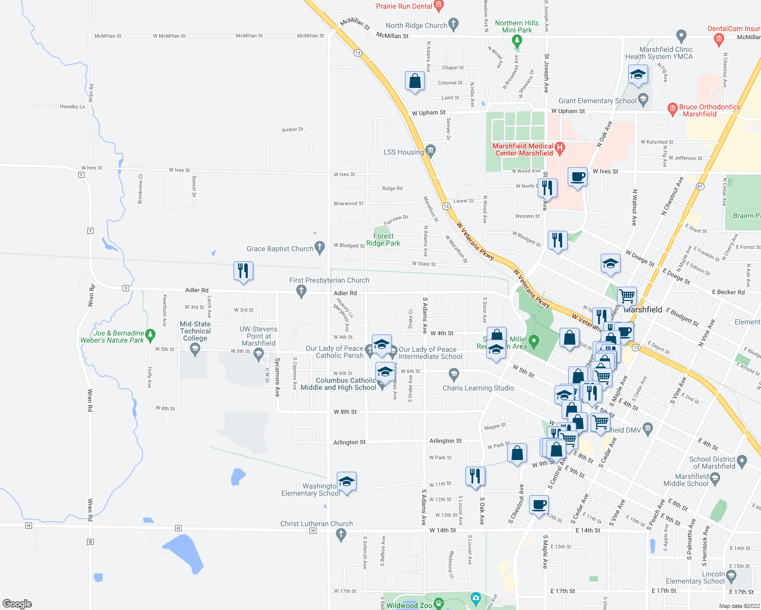 map of restaurants, bars, coffee shops, grocery stores, and more near 205 Columbus Drive in Marshfield
