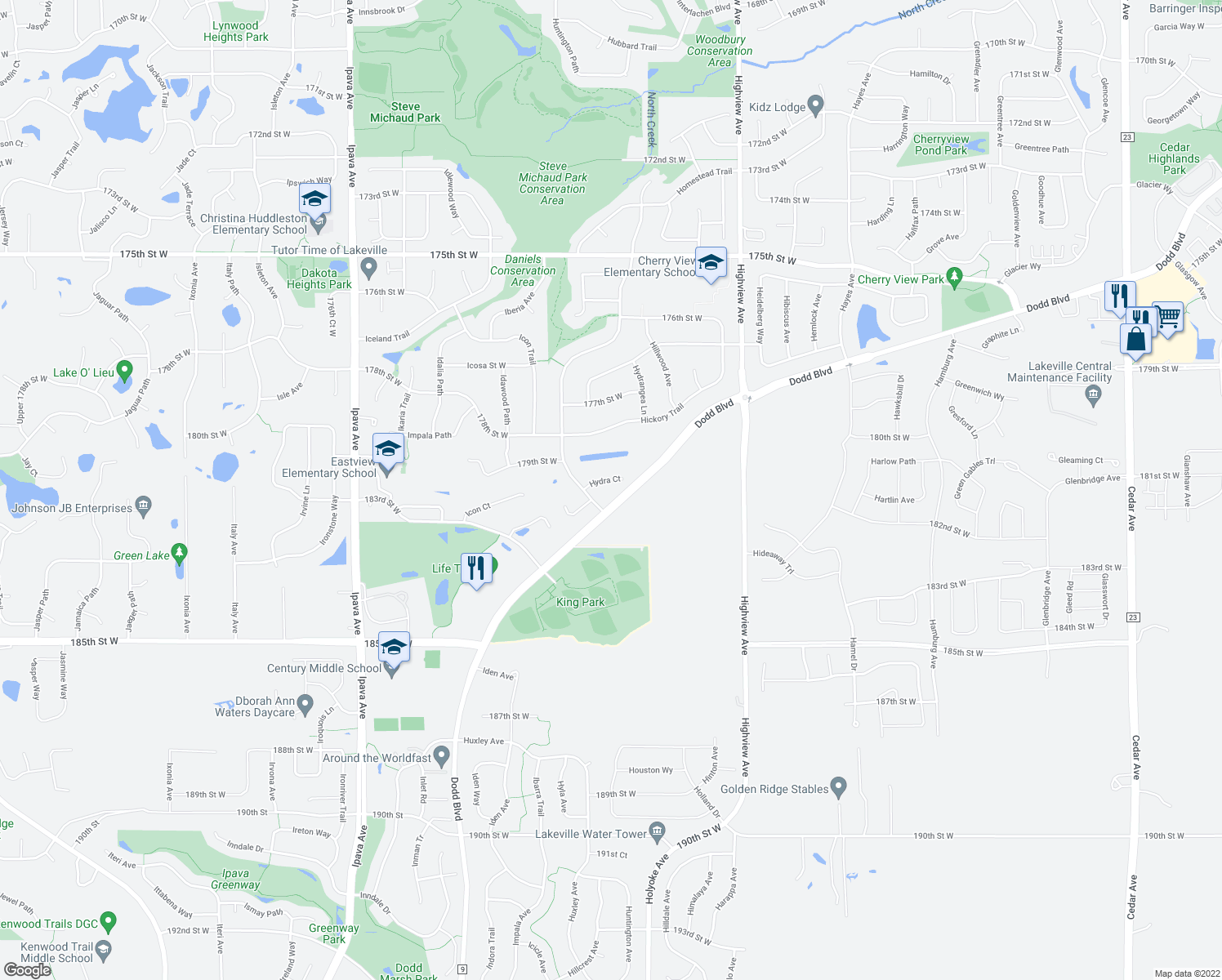 map of restaurants, bars, coffee shops, grocery stores, and more near 17928 Hyde Park Avenue in Lakeville