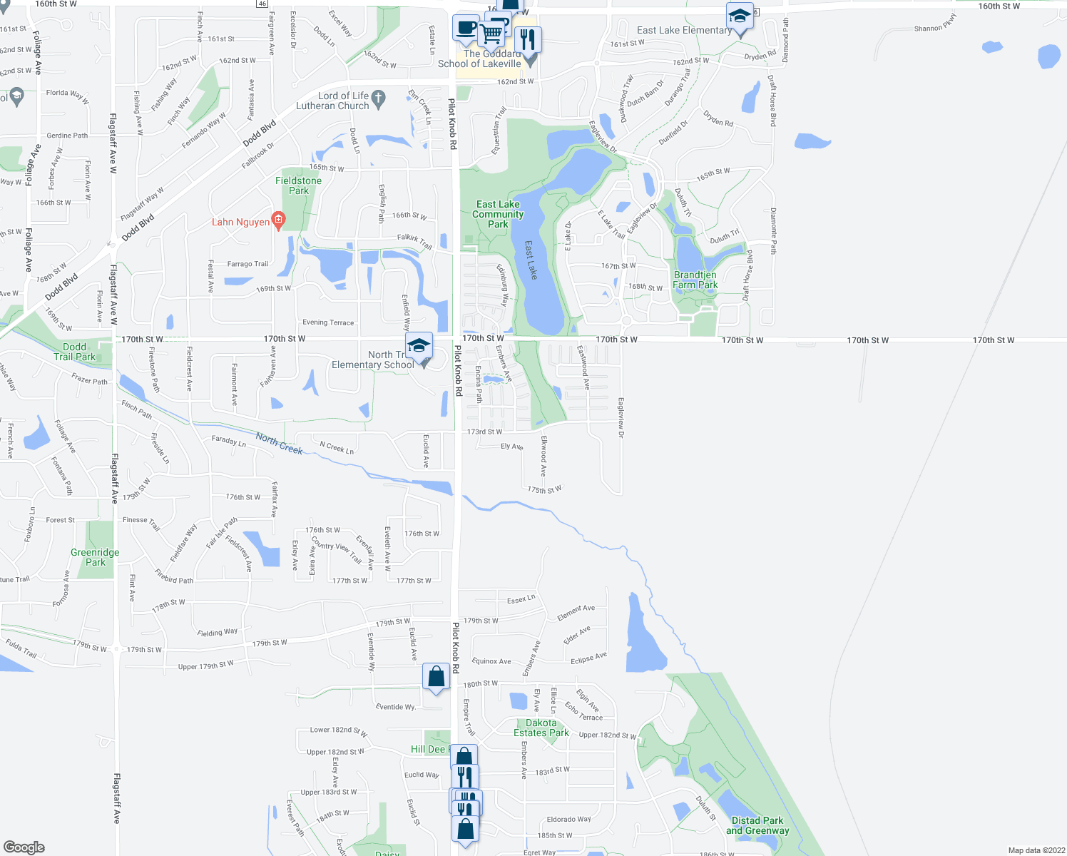 map of restaurants, bars, coffee shops, grocery stores, and more near 5323 173rd Street West in Farmington