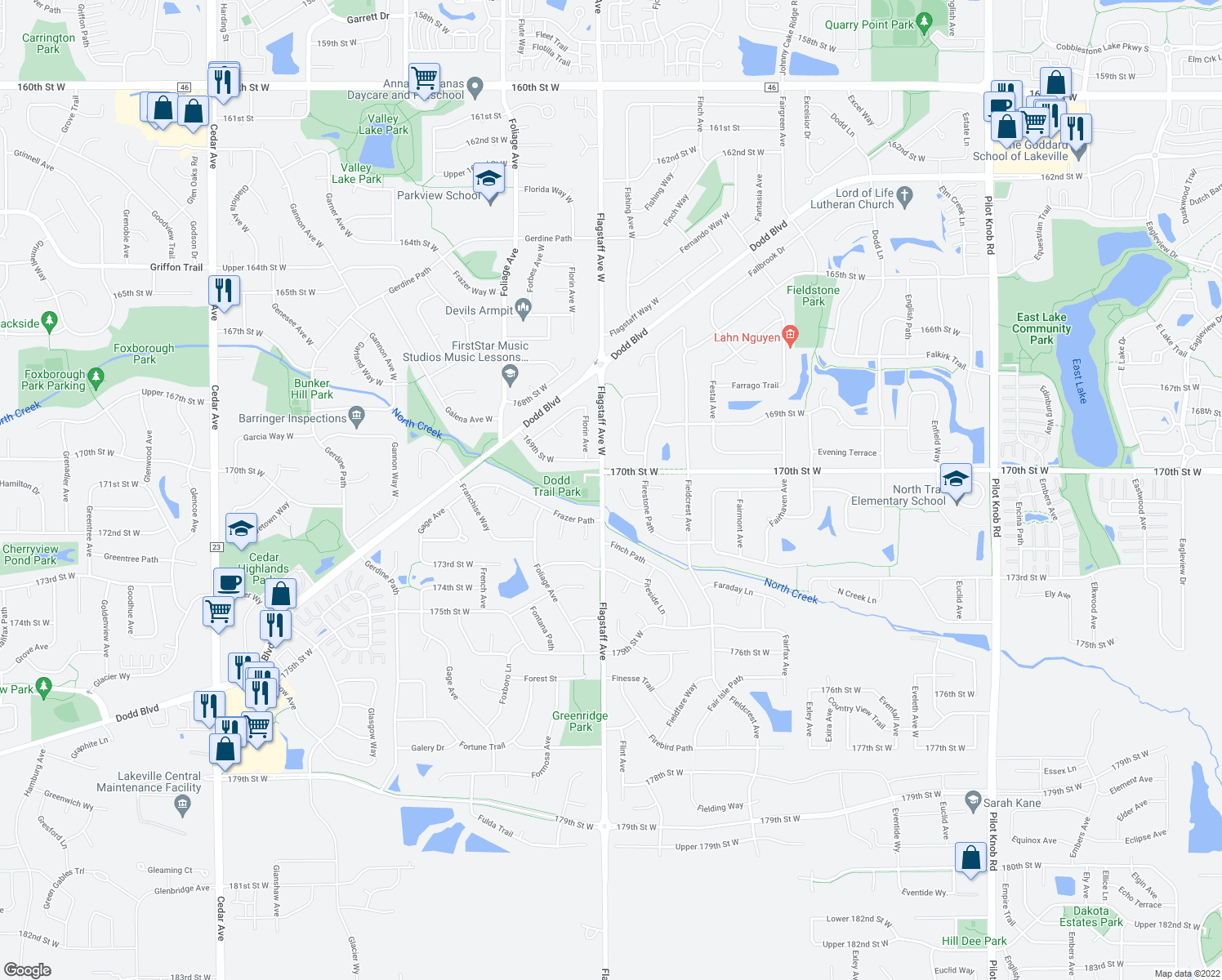map of restaurants, bars, coffee shops, grocery stores, and more near 17062 Firtree Place in Farmington