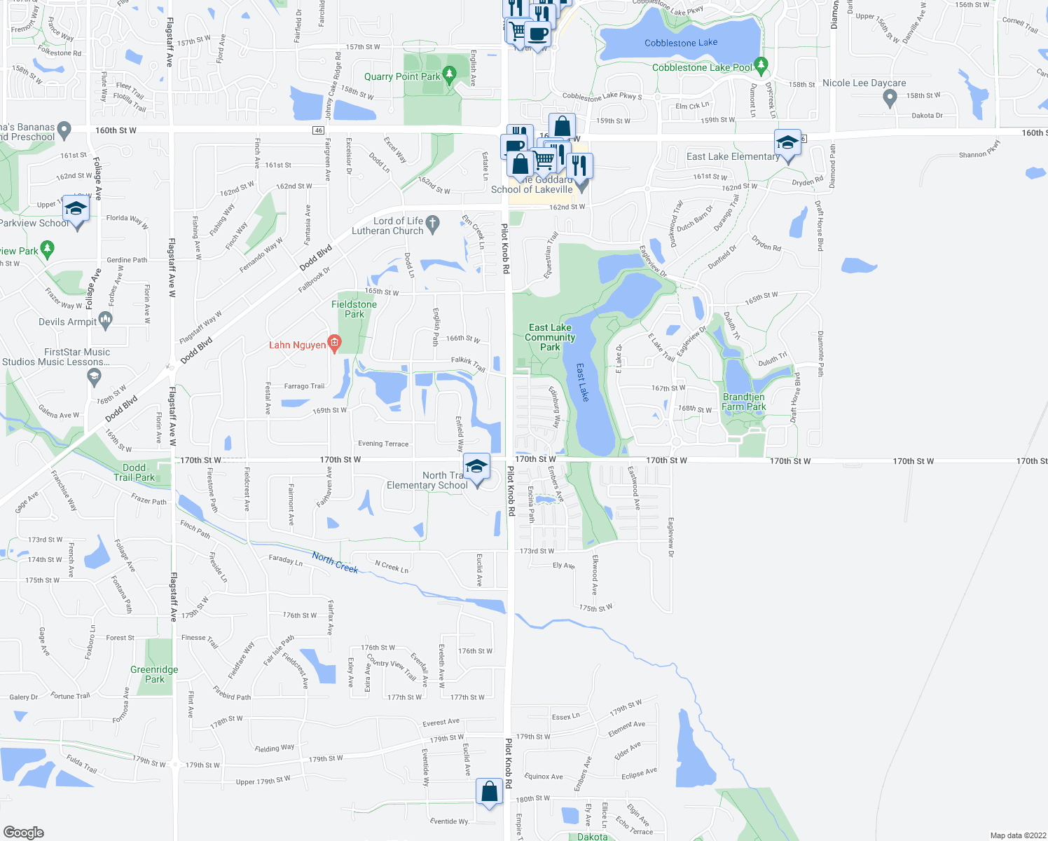 map of restaurants, bars, coffee shops, grocery stores, and more near 16795 Embers Avenue in Farmington