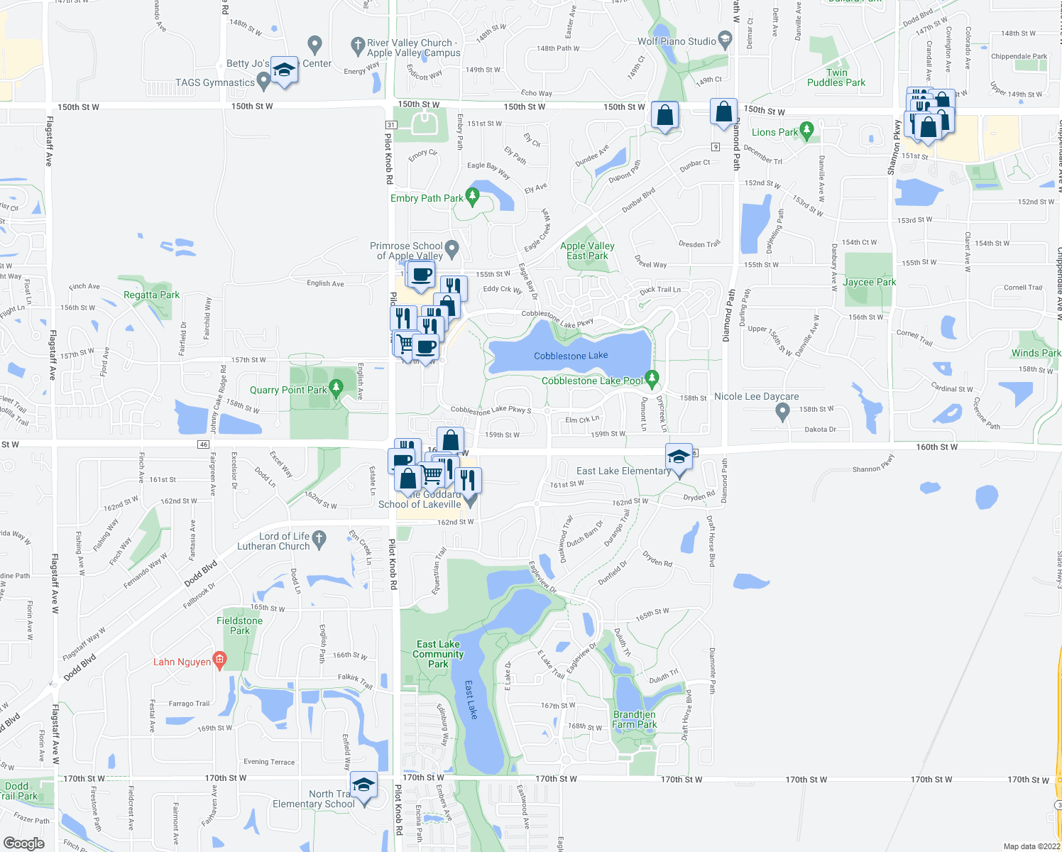 map of restaurants, bars, coffee shops, grocery stores, and more near 15841 Elmwood Lane in Apple Valley