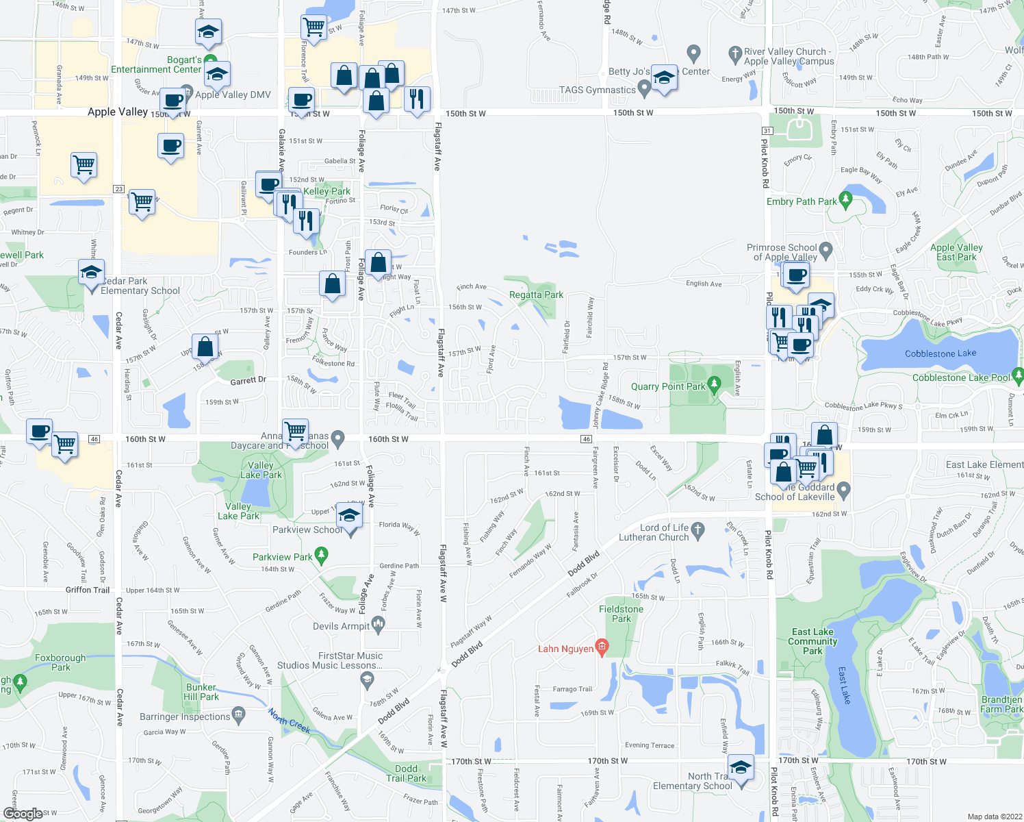 map of restaurants, bars, coffee shops, grocery stores, and more near 15920 Firtree Drive in Apple Valley