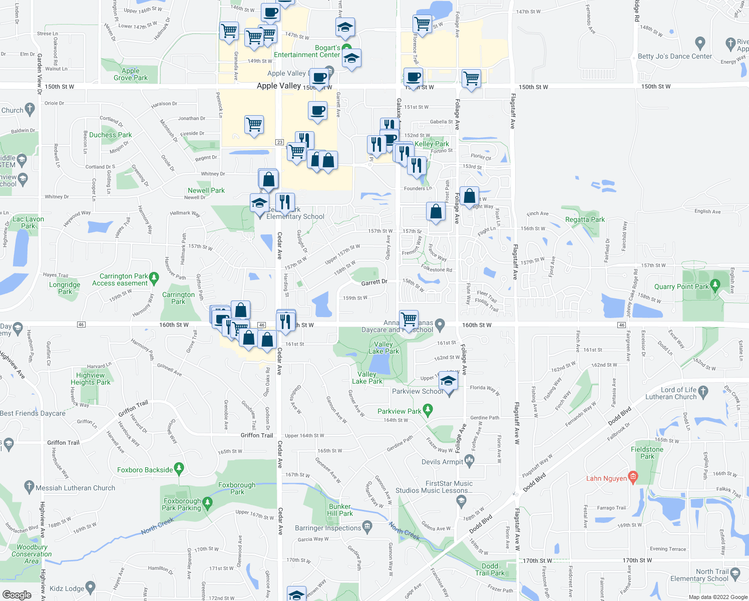 map of restaurants, bars, coffee shops, grocery stores, and more near 7130 159th Street West in Apple Valley