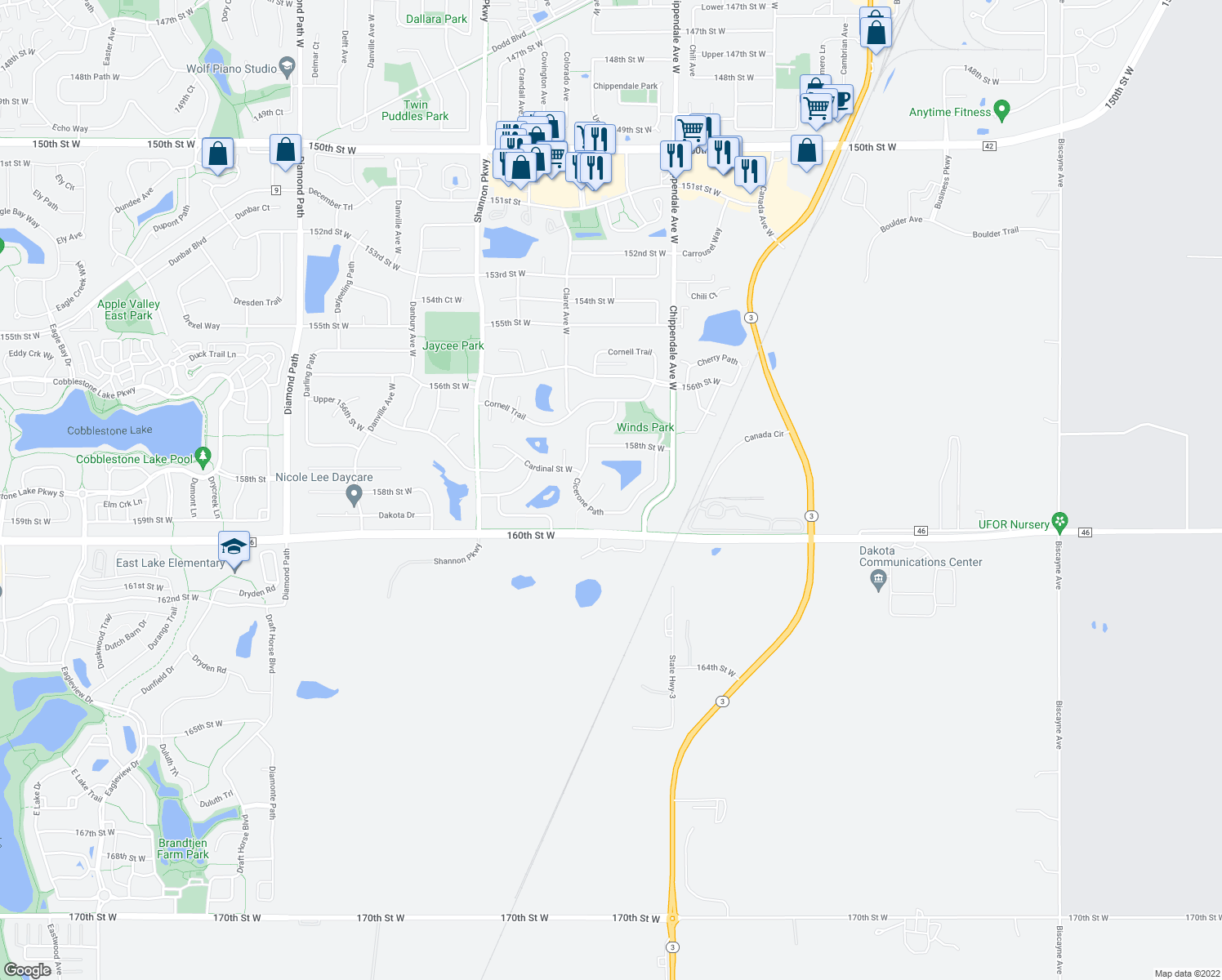 map of restaurants, bars, coffee shops, grocery stores, and more near 15788 Cicerone Court in Rosemount