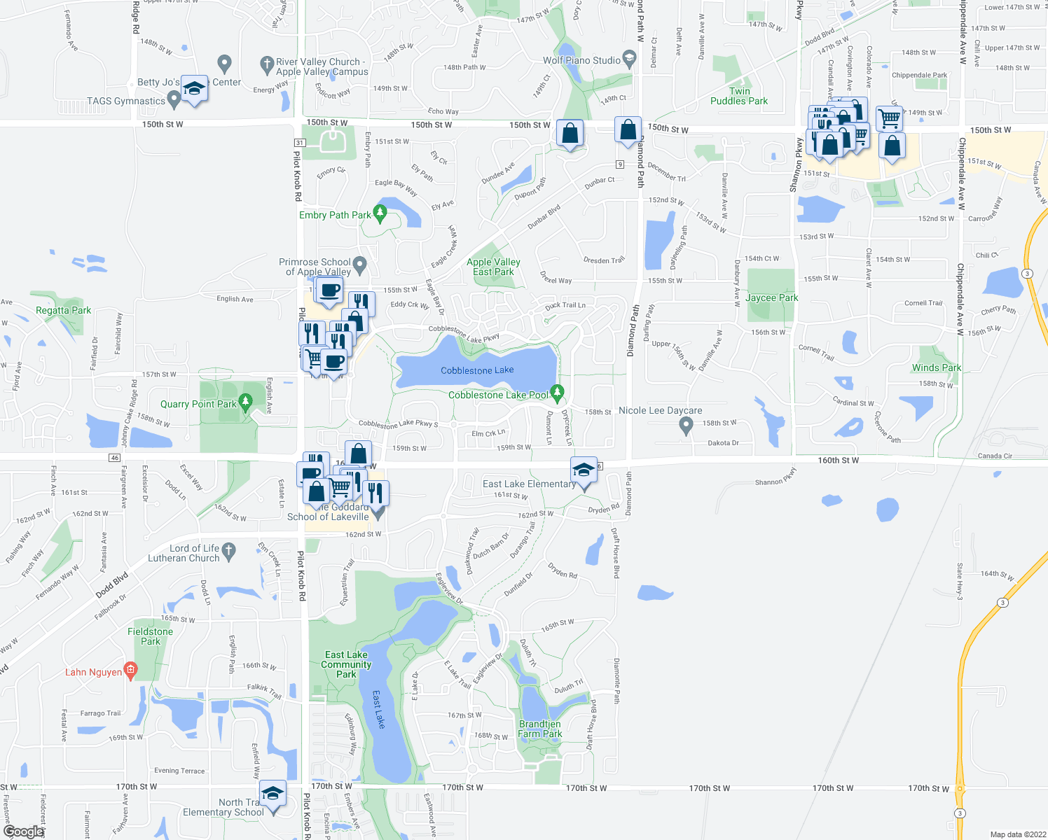 map of restaurants, bars, coffee shops, grocery stores, and more near 15845 Dutton Lane in Apple Valley