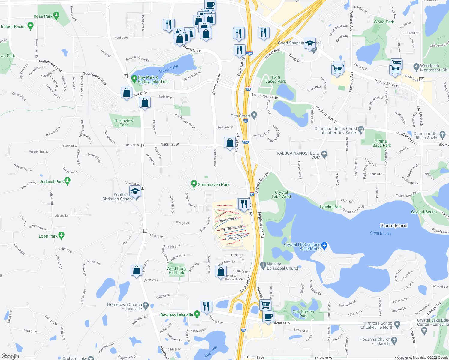 map of restaurants, bars, coffee shops, grocery stores, and more near 600 Greenhaven Drive in Burnsville