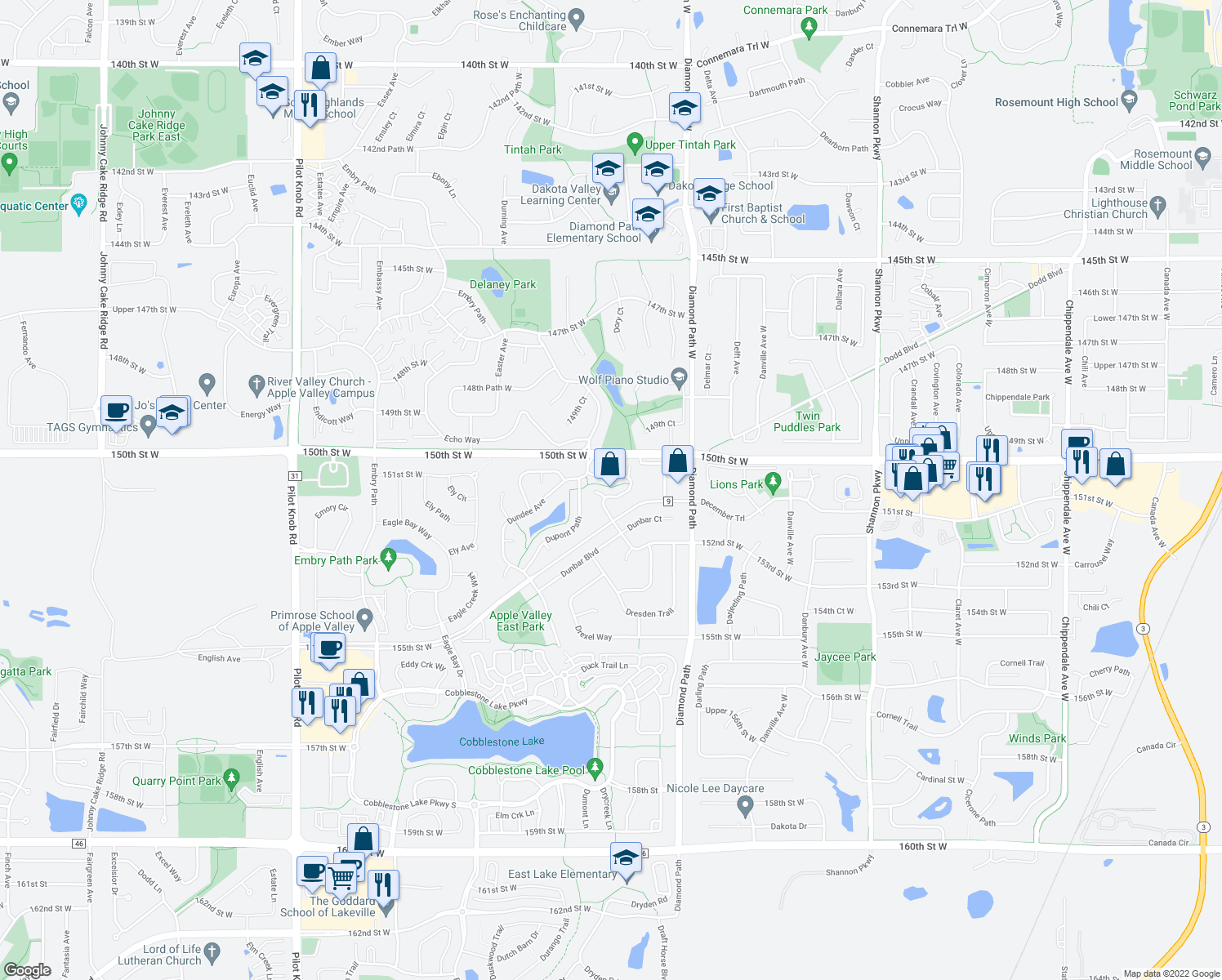 map of restaurants, bars, coffee shops, grocery stores, and more near 15065 Dunwood Trail in Apple Valley
