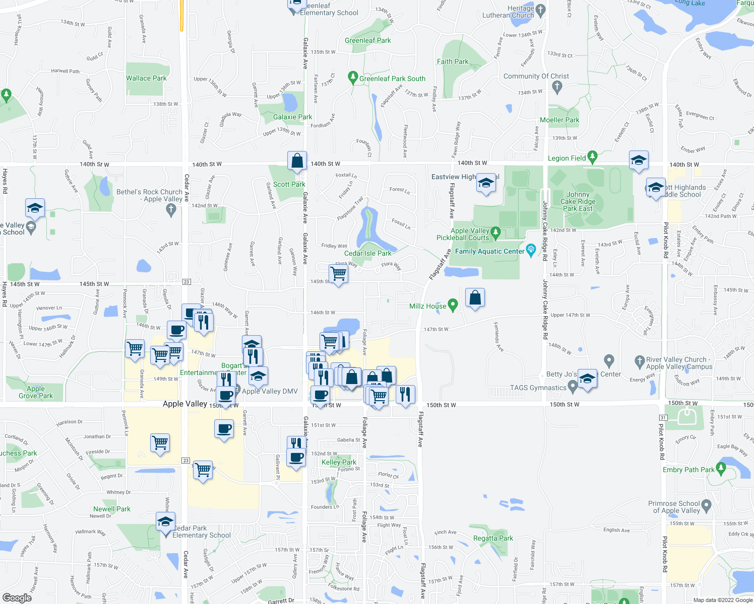 map of restaurants, bars, coffee shops, grocery stores, and more near 14567 Florissant Path in Apple Valley