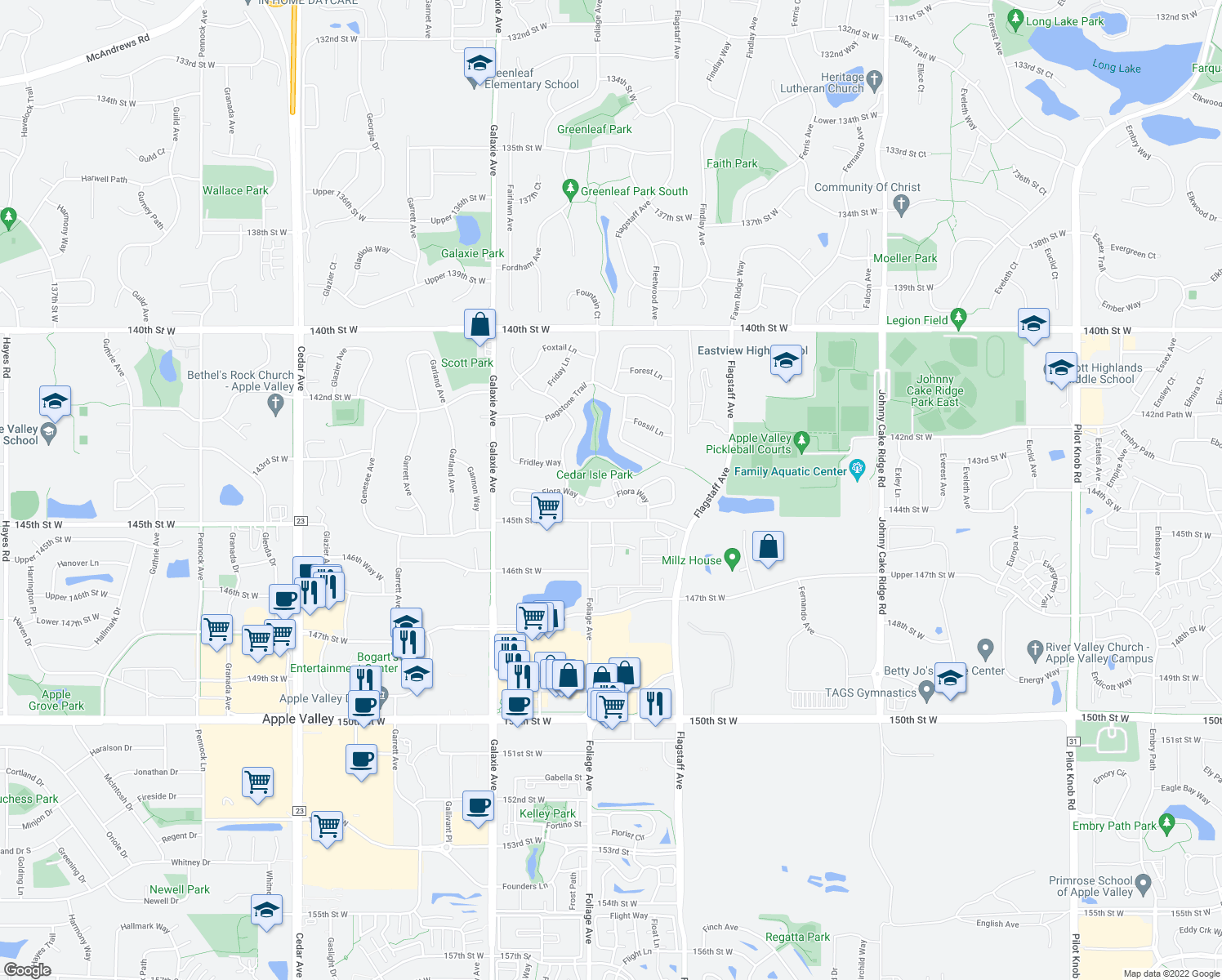 map of restaurants, bars, coffee shops, grocery stores, and more near 14339 Flora Way in Apple Valley