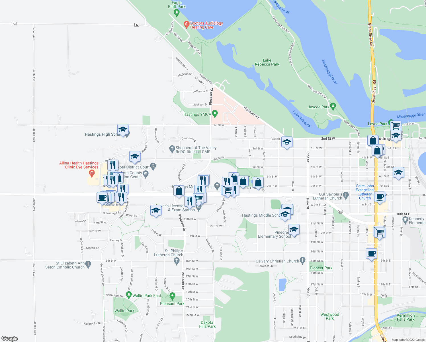 map of restaurants, bars, coffee shops, grocery stores, and more near 500-788 Westview Drive in Hastings