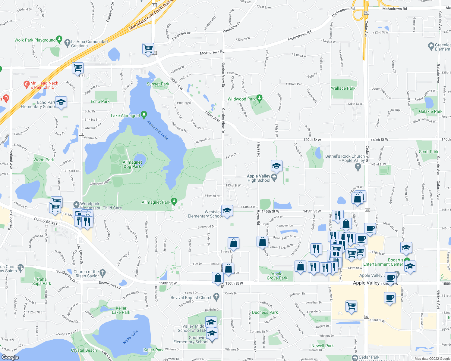 map of restaurants, bars, coffee shops, grocery stores, and more near 14246 Hibiscus Court in Apple Valley