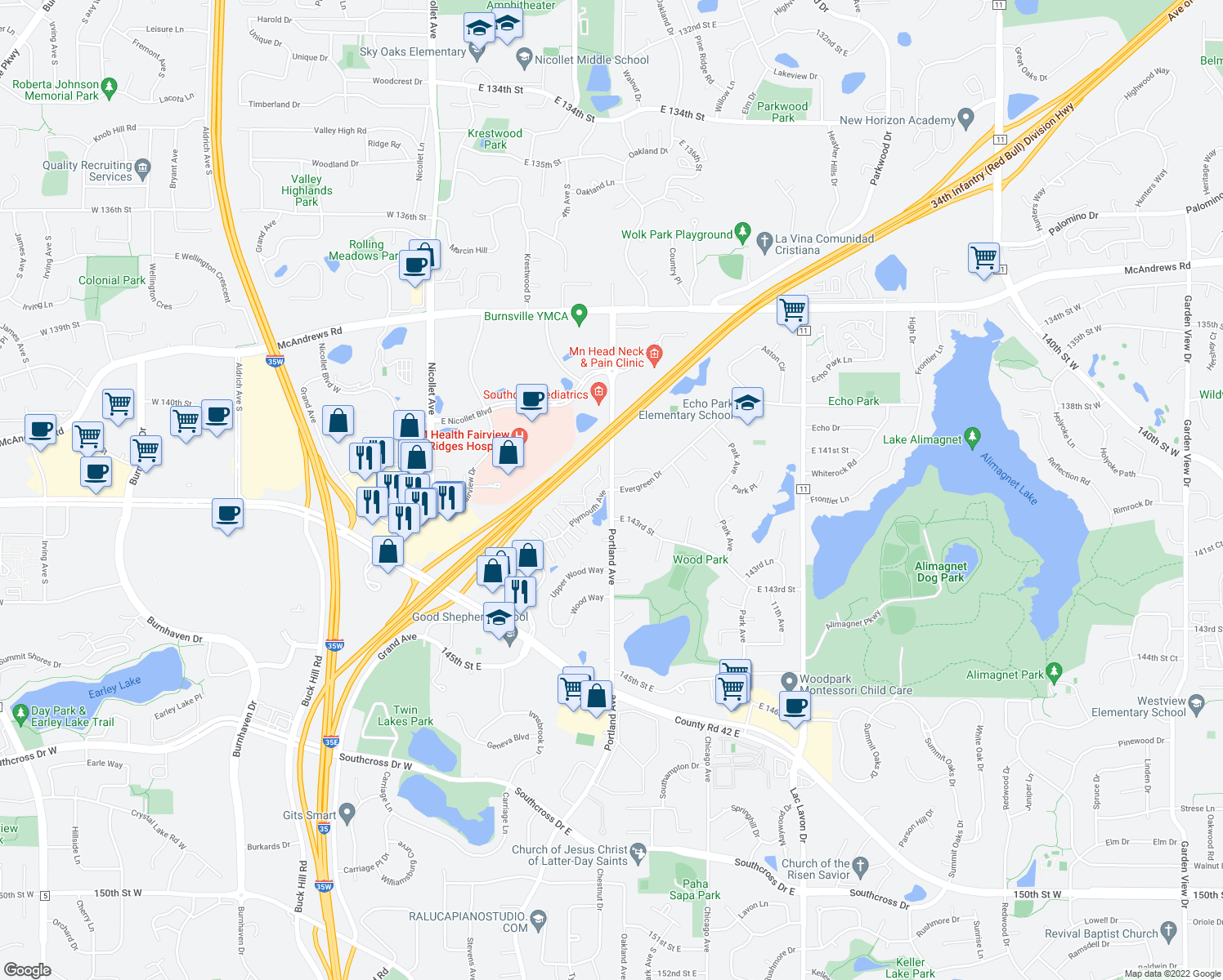 map of restaurants, bars, coffee shops, grocery stores, and more near Portland Ave & Evergreen Dr in Burnsville