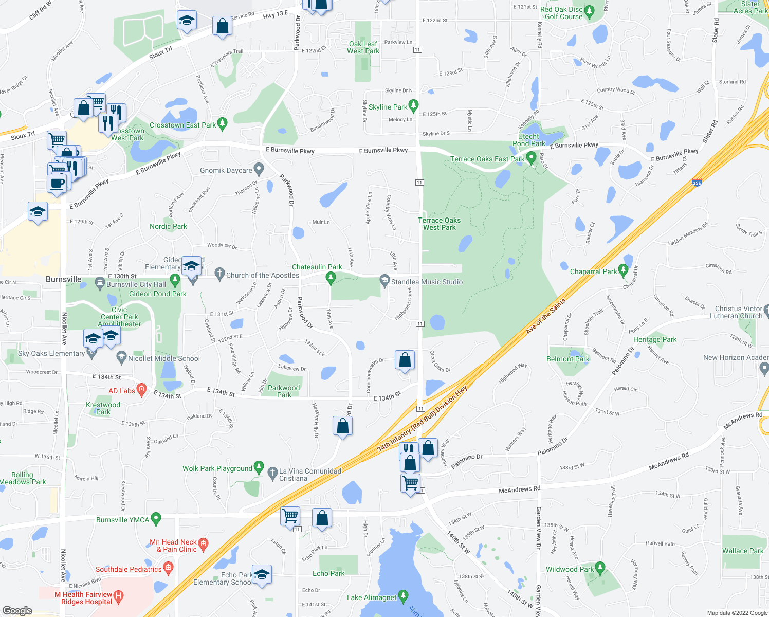 map of restaurants, bars, coffee shops, grocery stores, and more near 13112 Longview Drive in Burnsville