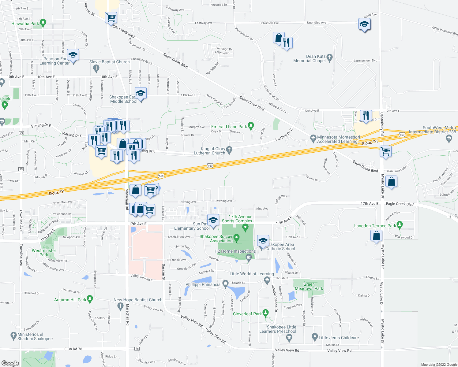 map of restaurants, bars, coffee shops, grocery stores, and more near 1561 Balinese Street in Shakopee
