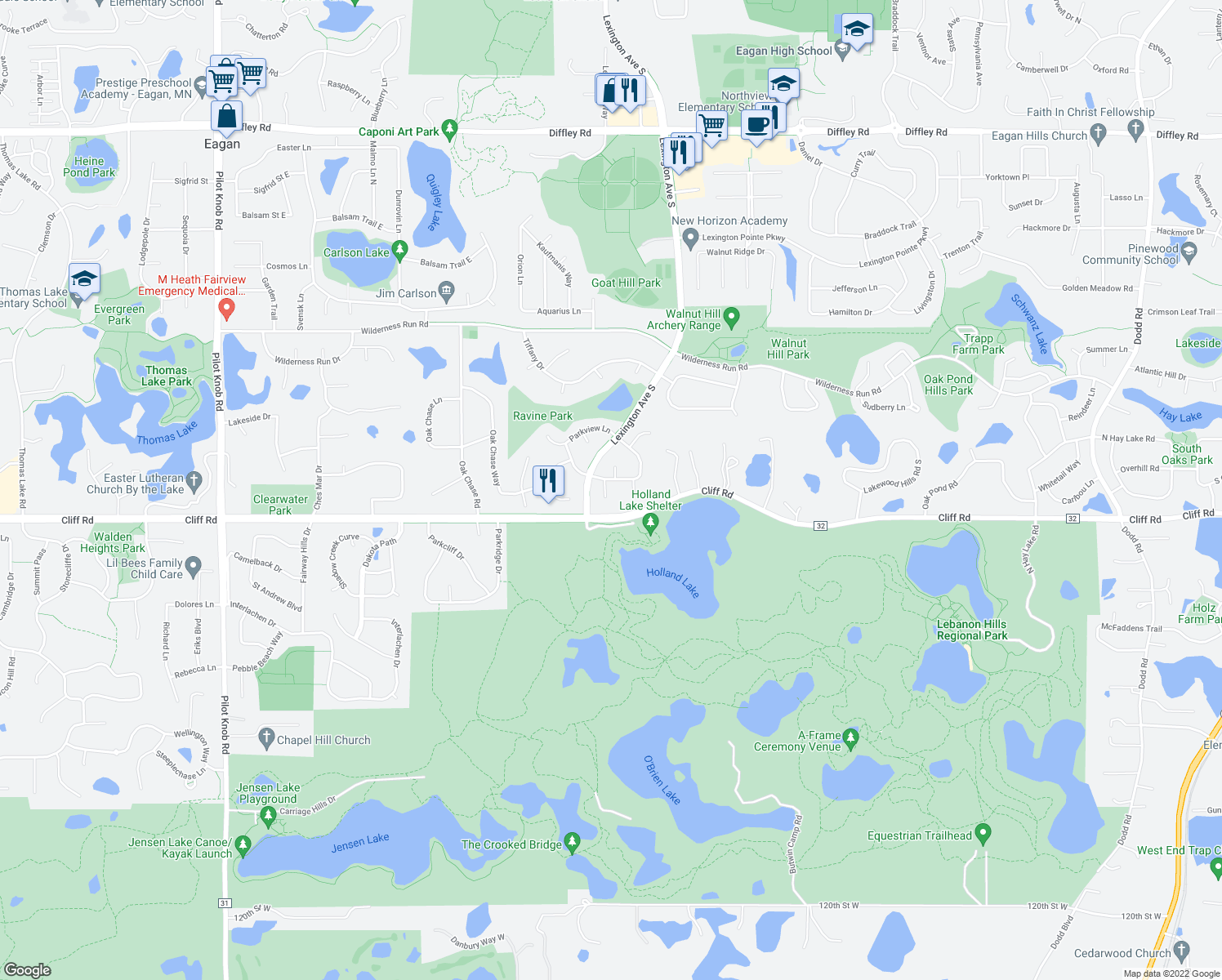 map of restaurants, bars, coffee shops, grocery stores, and more near 4580 Maple Leaf Circle in Eagan
