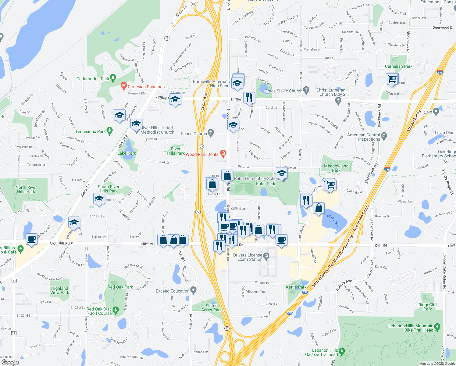 map of restaurants, bars, coffee shops, grocery stores, and more near 4542 Villa Parkway in Eagan