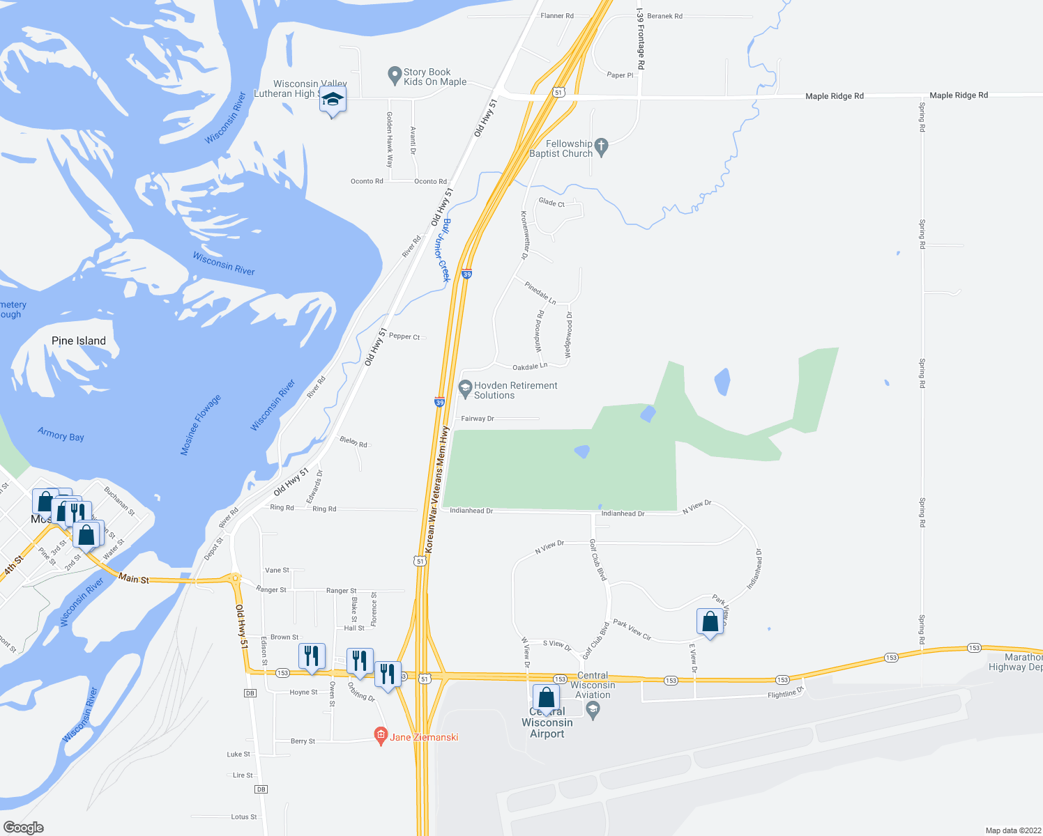 map of restaurants, bars, coffee shops, grocery stores, and more near Fairway Drive in Mosinee
