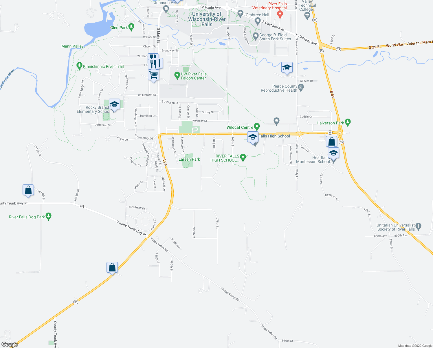 map of restaurants, bars, coffee shops, grocery stores, and more near Southridge Road in River Falls