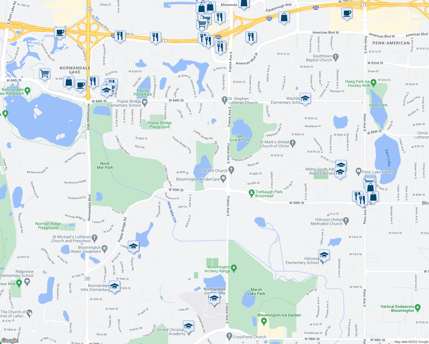 map of restaurants, bars, coffee shops, grocery stores, and more near 8850 Goodrich Rd in Bloomington