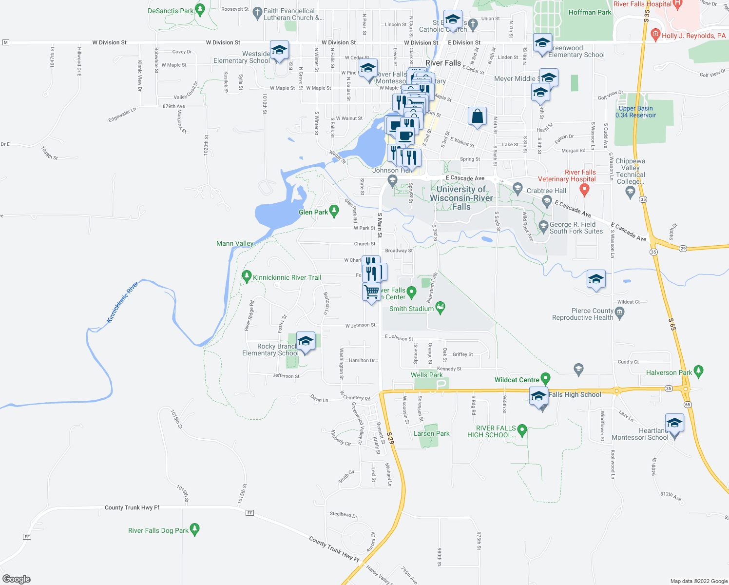 map of restaurants, bars, coffee shops, grocery stores, and more near 1011 State Street in River Falls