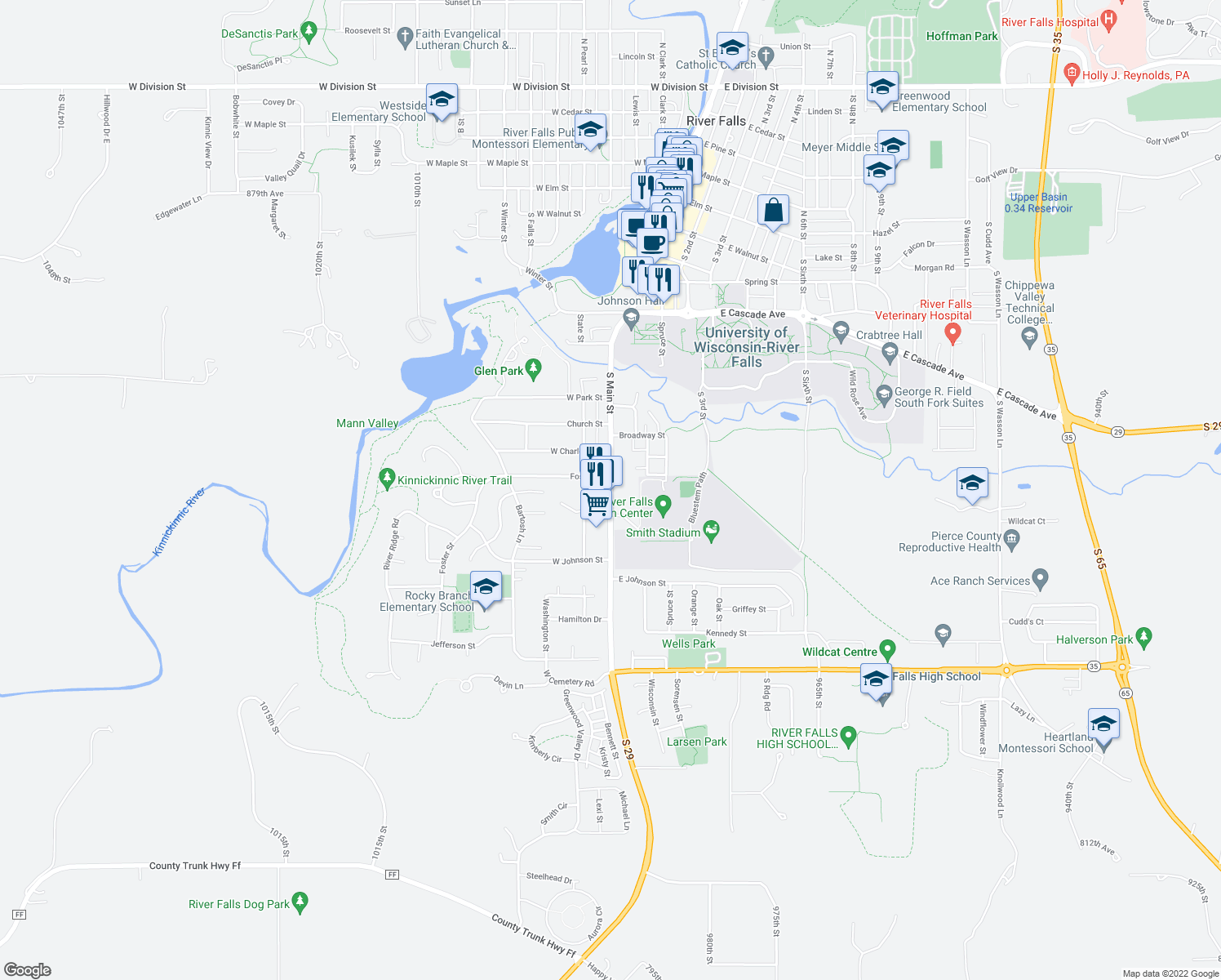 map of restaurants, bars, coffee shops, grocery stores, and more near 1025 South Main Street in River Falls