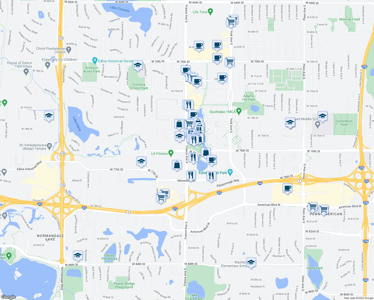 map of restaurants, bars, coffee shops, grocery stores, and more near France Avenue South & West 76th Street in Edina