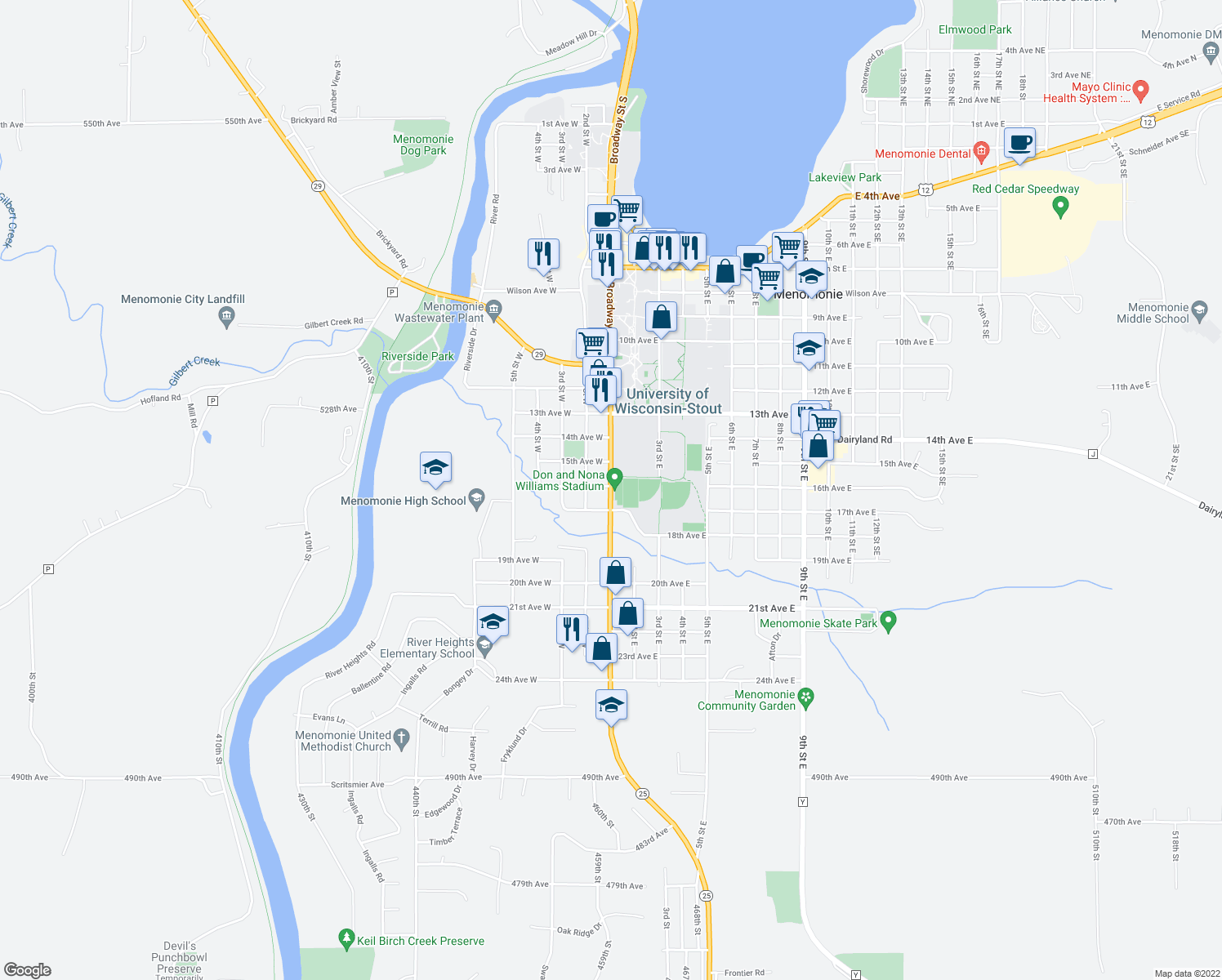 map of restaurants, bars, coffee shops, grocery stores, and more near 1618 Broadway Street South in Menomonie