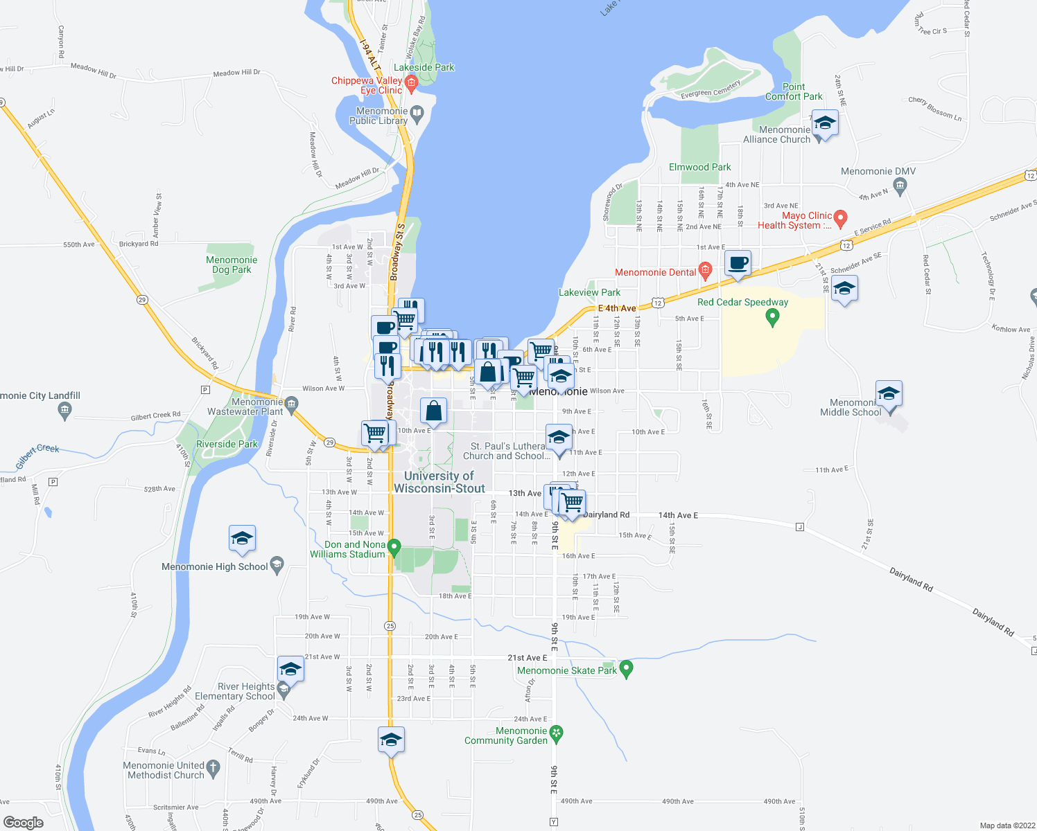 map of restaurants, bars, coffee shops, grocery stores, and more near 902 7th Street East in Menomonie