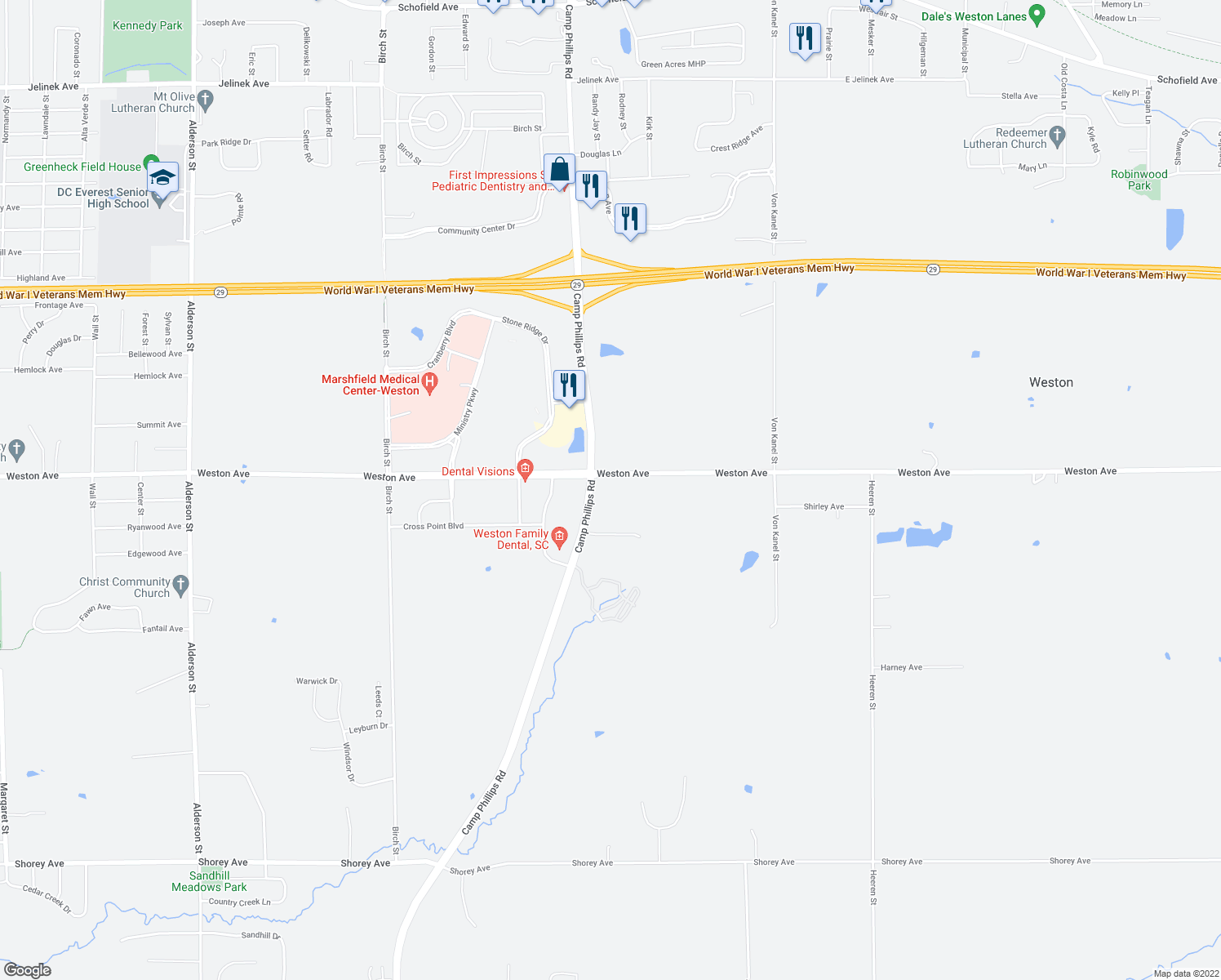map of restaurants, bars, coffee shops, grocery stores, and more near 4103 Weston Avenue in Schofield