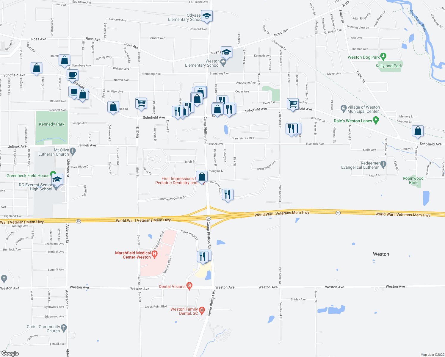 map of restaurants, bars, coffee shops, grocery stores, and more near 4134 East Everest Avenue in Weston