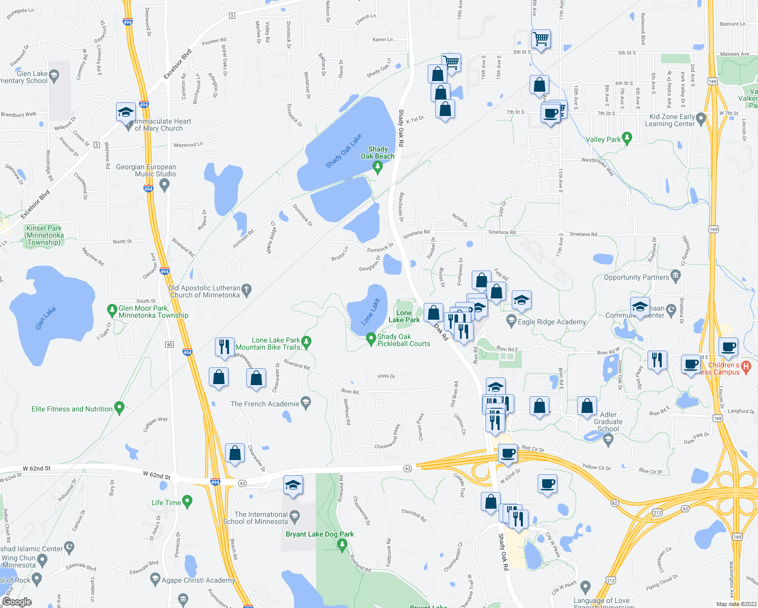 map of restaurants, bars, coffee shops, grocery stores, and more near 11667 Lone Lake Ridge in Hopkins