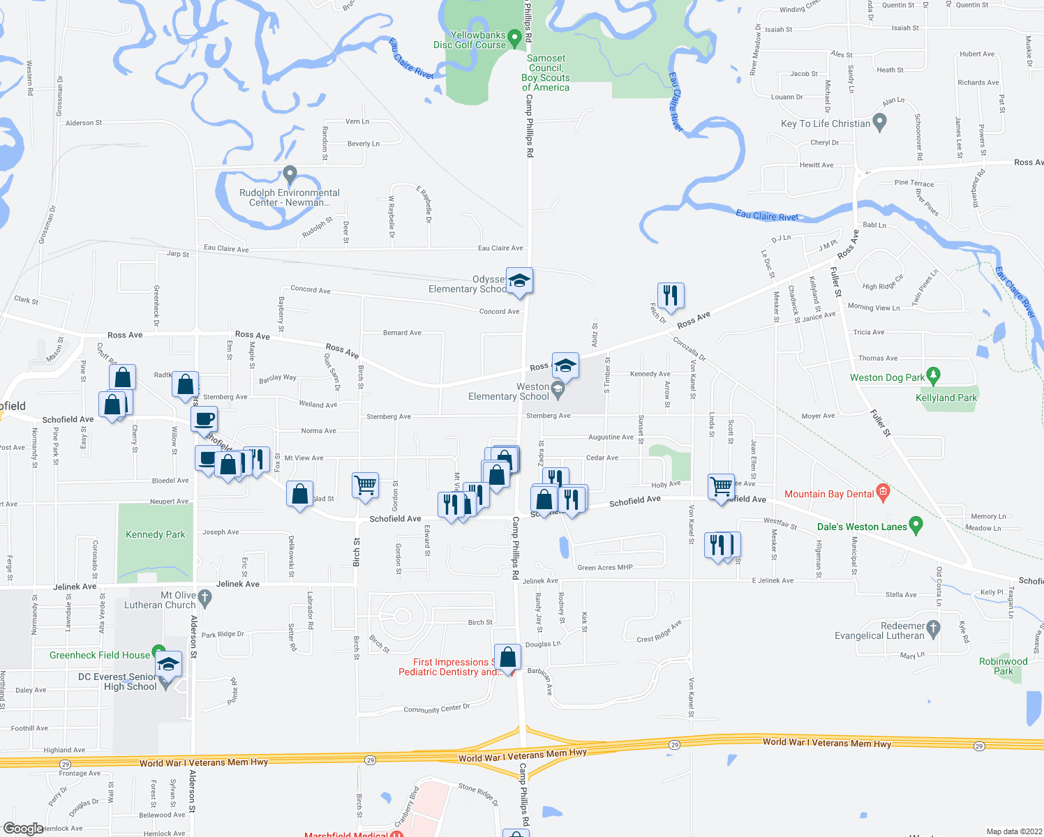 map of restaurants, bars, coffee shops, grocery stores, and more near 7007 Camp Phillips Road in Weston