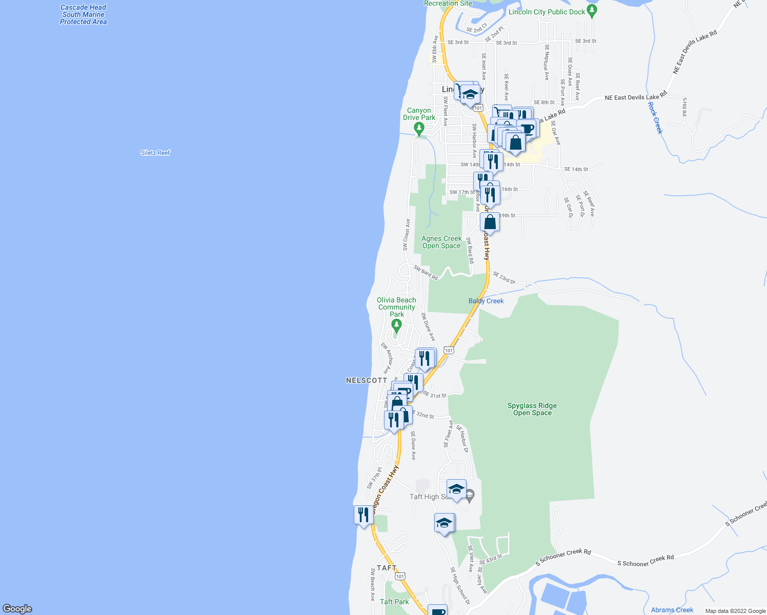 map of restaurants, bars, coffee shops, grocery stores, and more near 2575 Southwest Anchor Avenue in Lincoln City